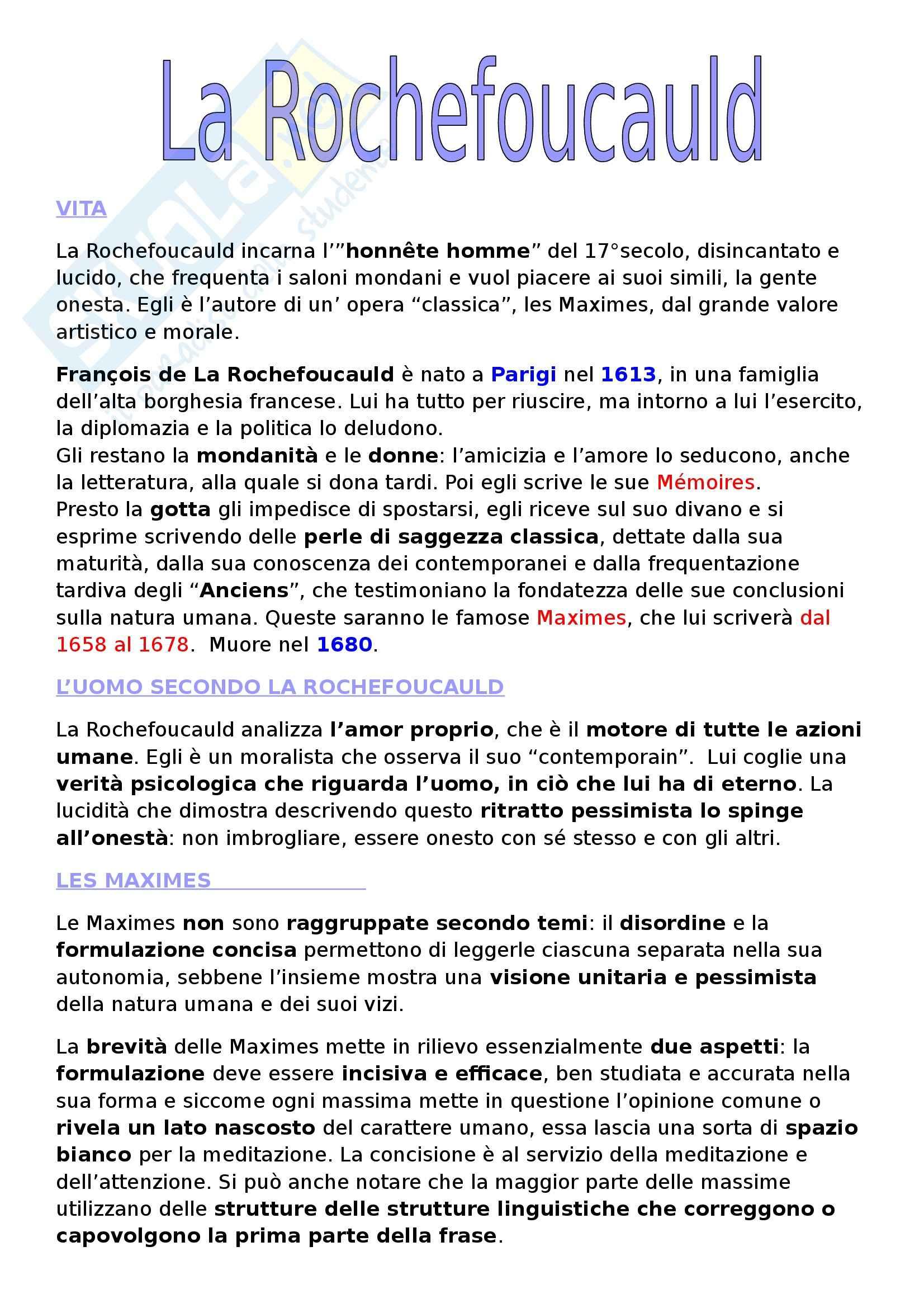 Letteratura francese - La Rochefoucauld