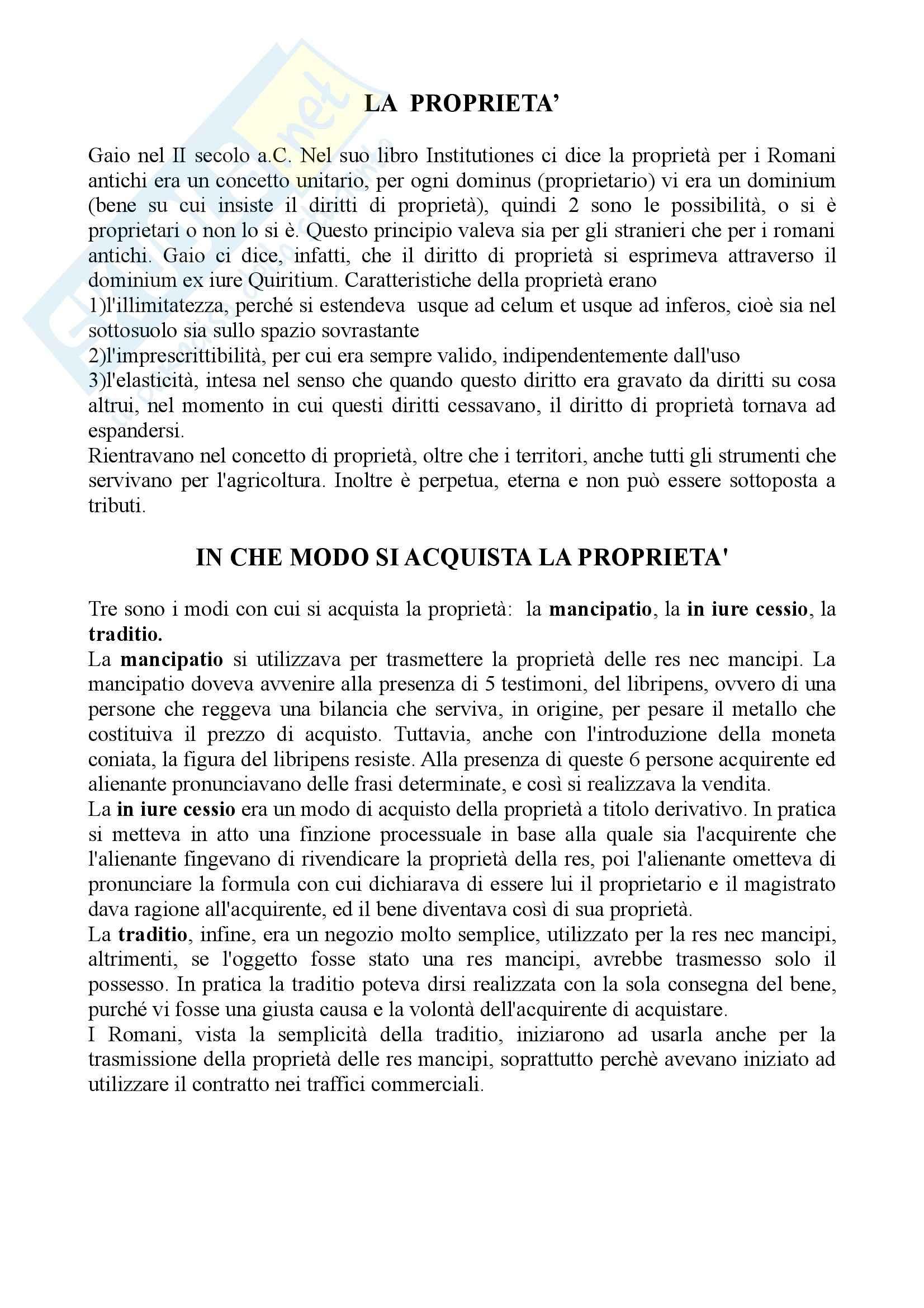 Diritto romano - la proprietà