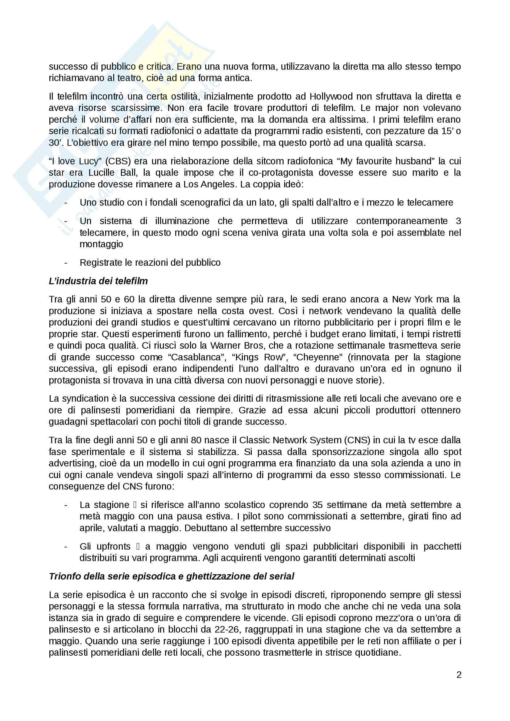 Riassunto esame Forme e generi dello spettacolo radiotelevisivo, prof. Pollone, libro consigliato Le serie TV di Gianluigi Rossini Pag. 2