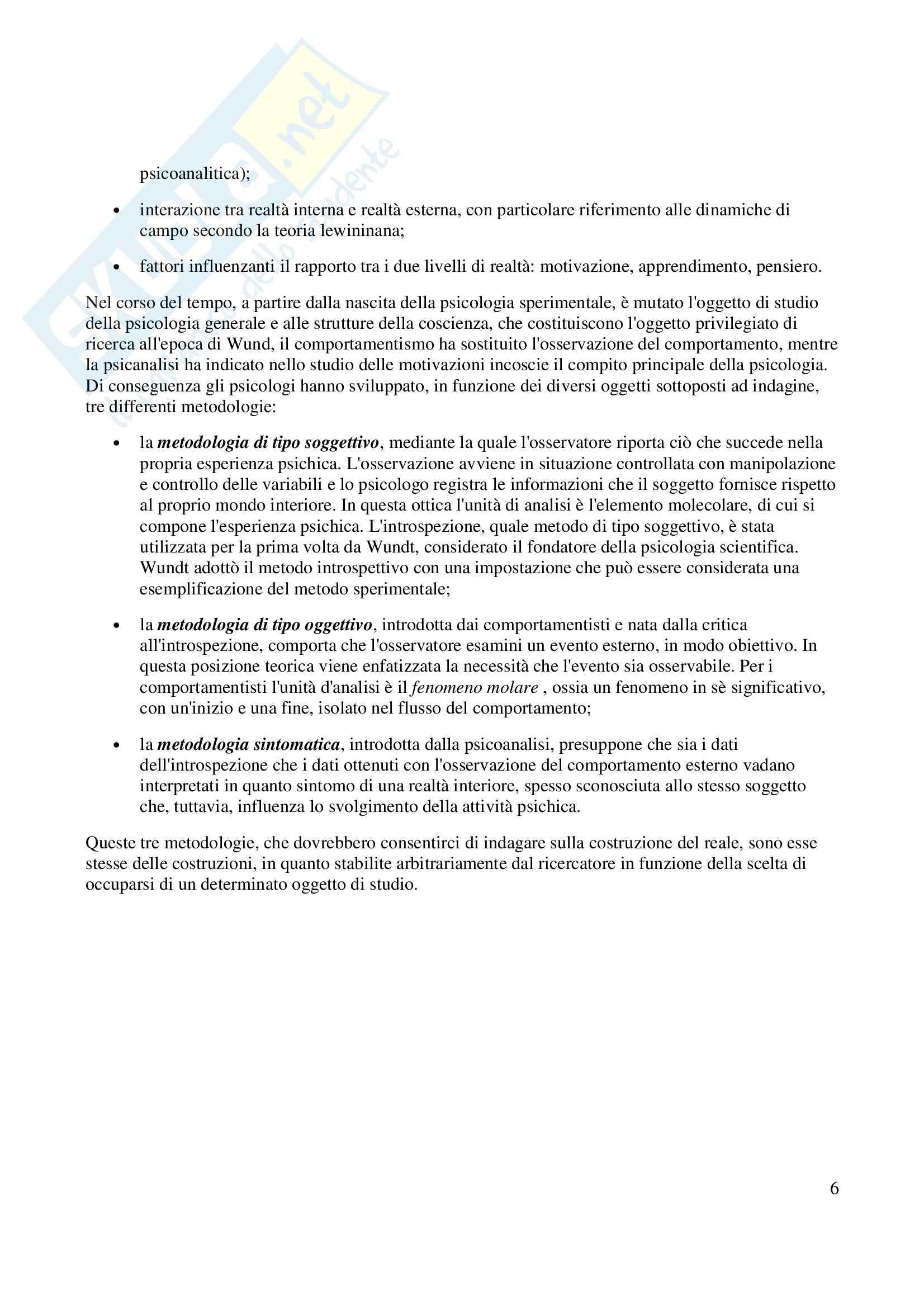 Fondamenti di Psicologia Generale Pag. 6