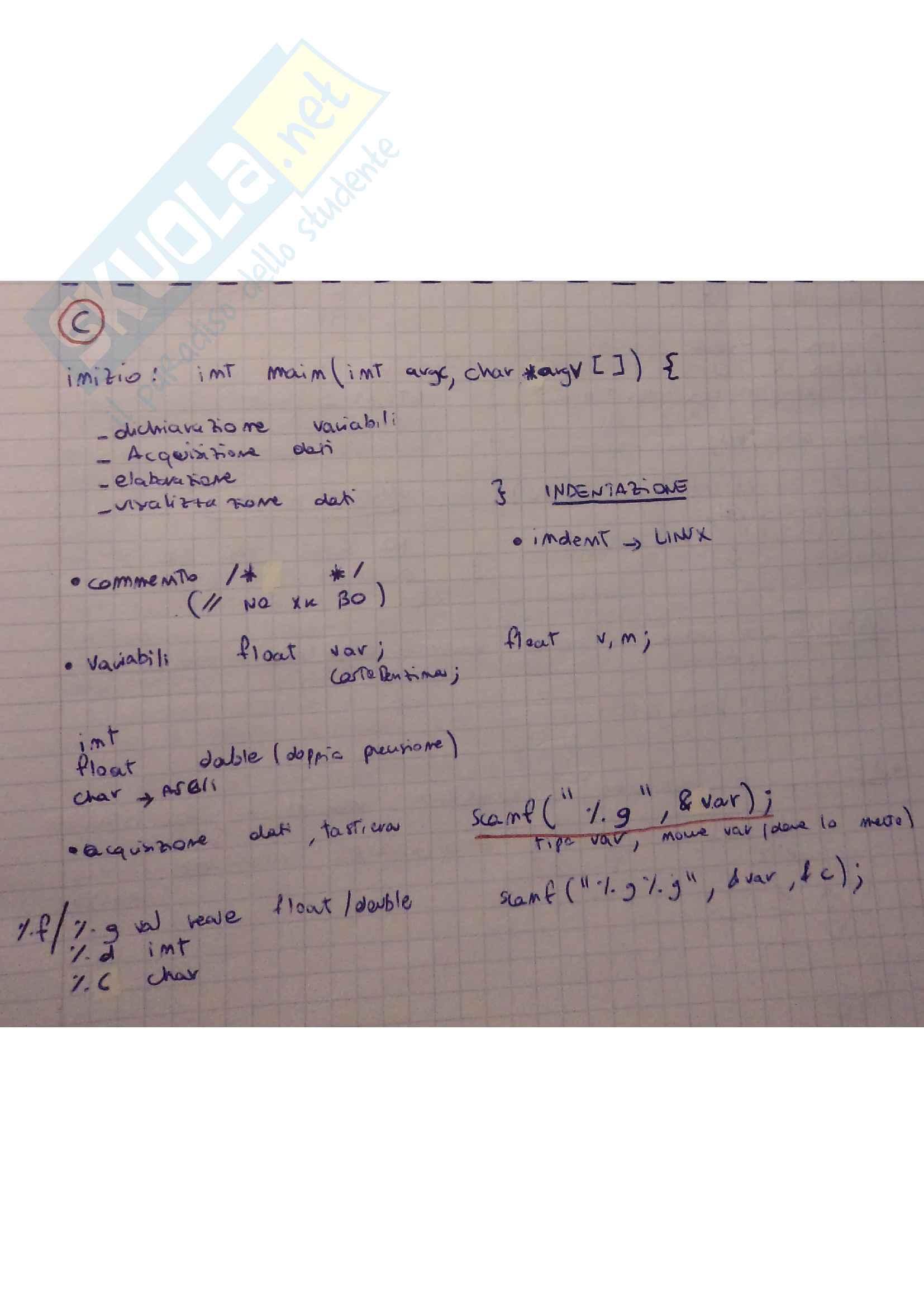 Teoria Programmazione in C e esercizi