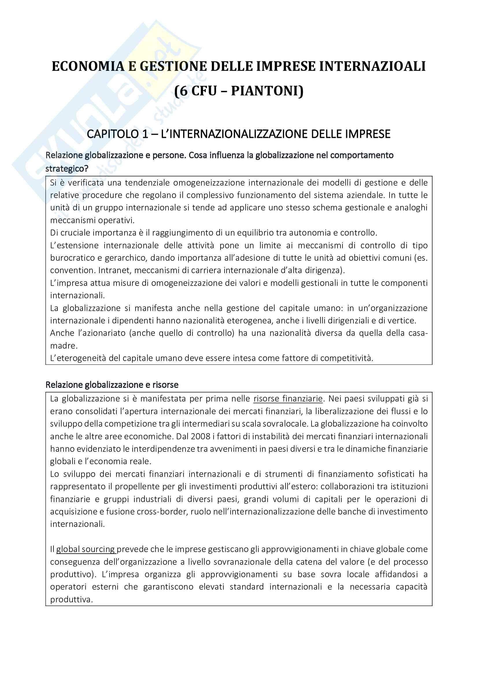 Domande e risposte dell'esame Economia e Gestione delle Imprese Internazionali (6 CFU - Piantoni)