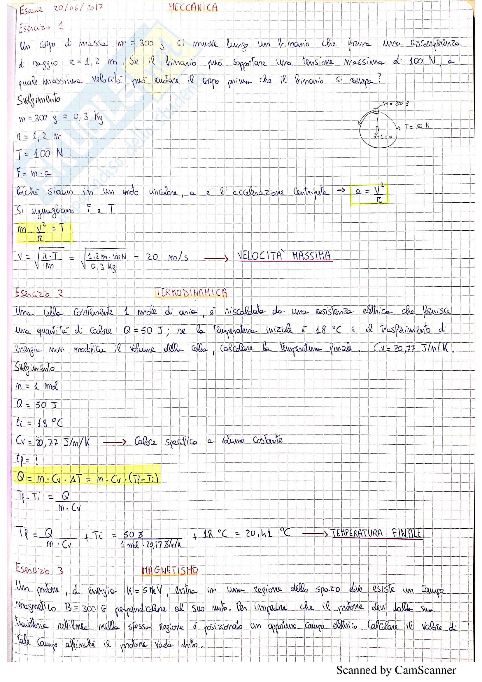 Esercizi svolti degli esami di fisica