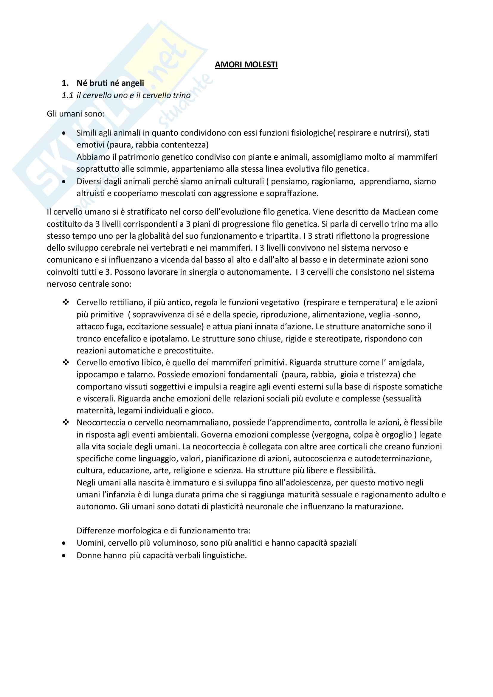 Riassunto esame Psicologia dello sviluppo, prof. Begotti, libro consigliato Amori molesti, Bonino