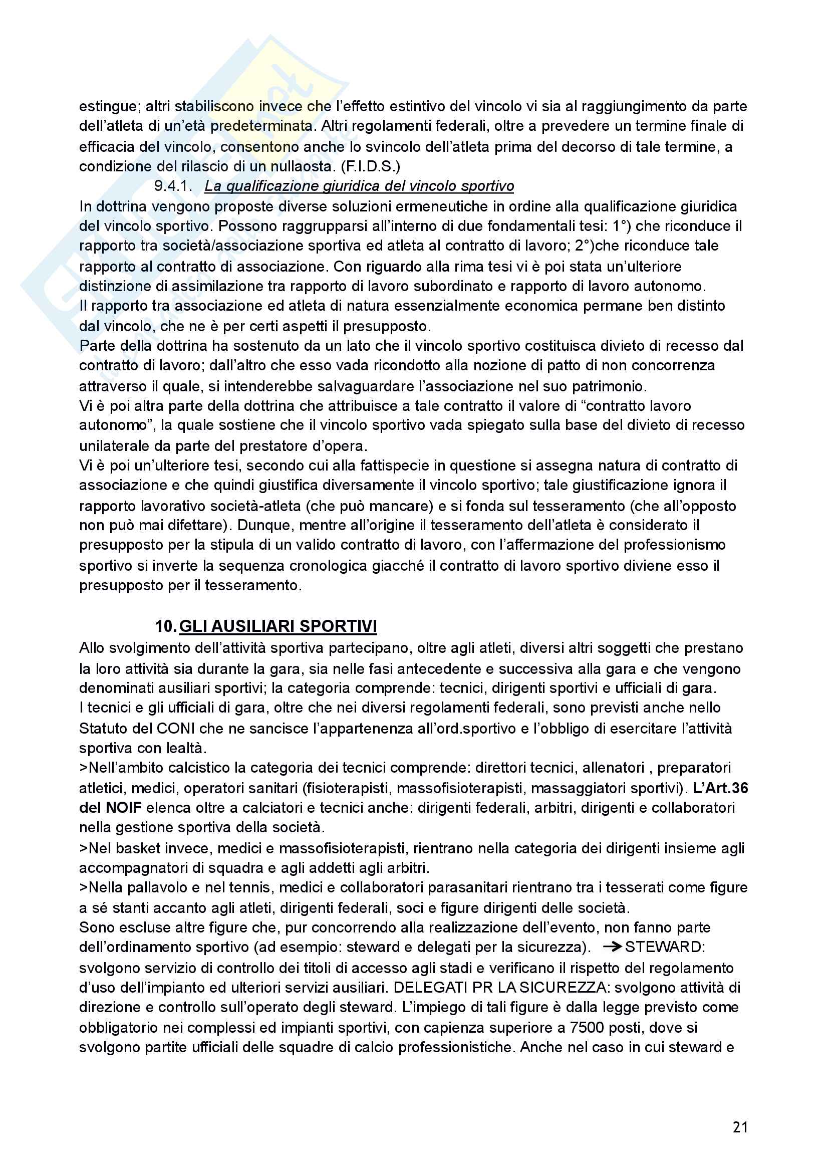 Riassunto esame di Diritto sportivo Pag. 21