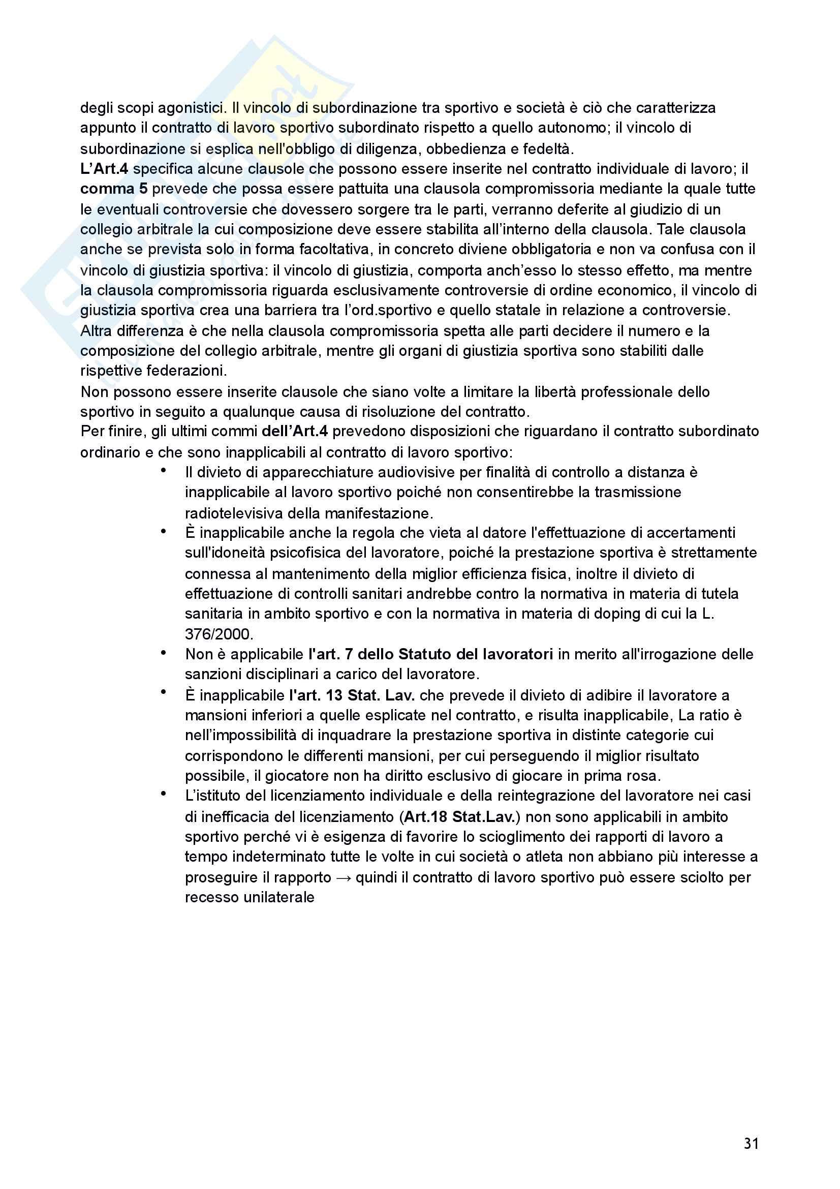 Riassunto esame di Diritto sportivo Pag. 31