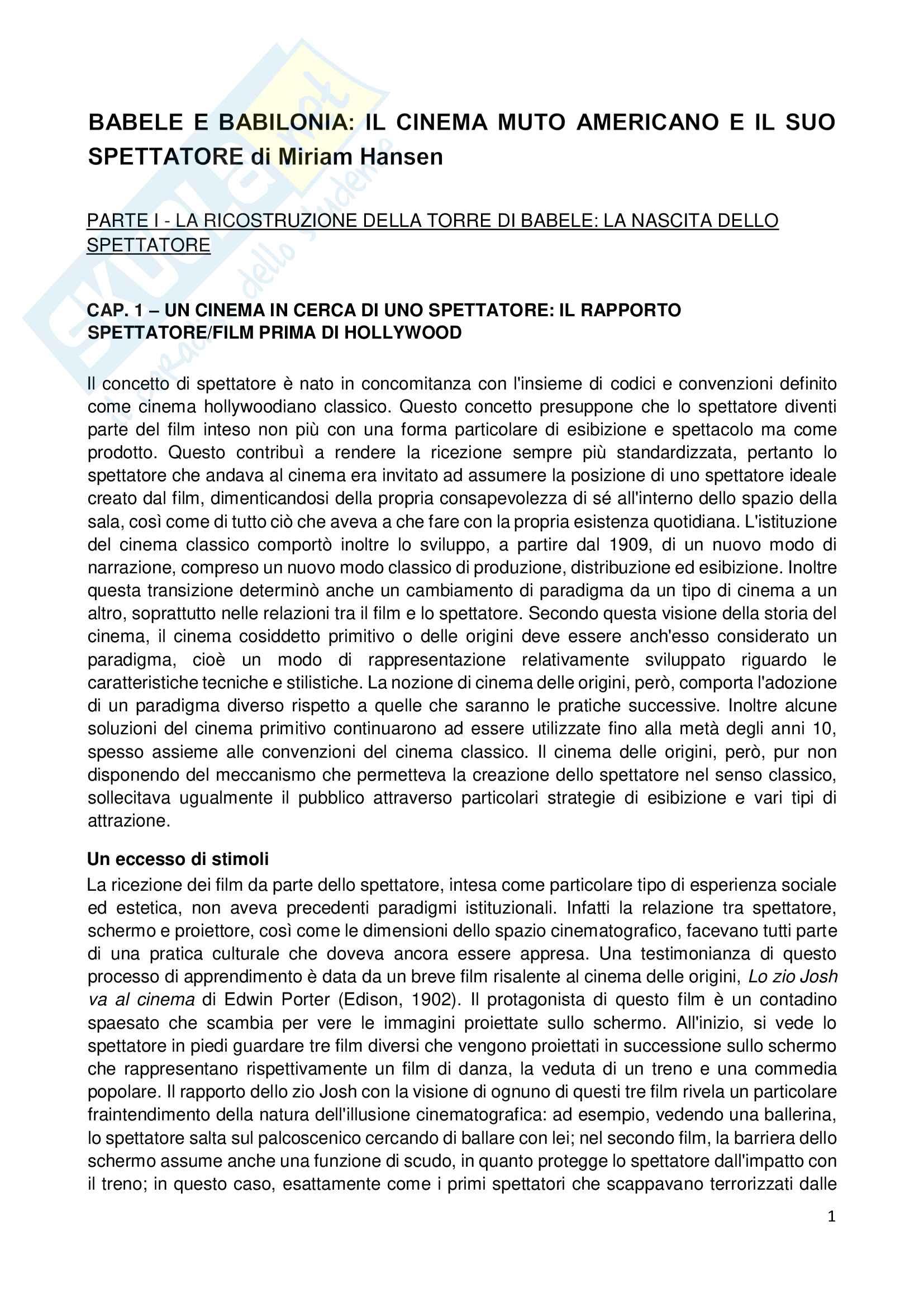 Riassunto esame Semiologia del cinema, prof. Mancino, libro consigliato Babele e Babilonia, Hansen Pag. 1