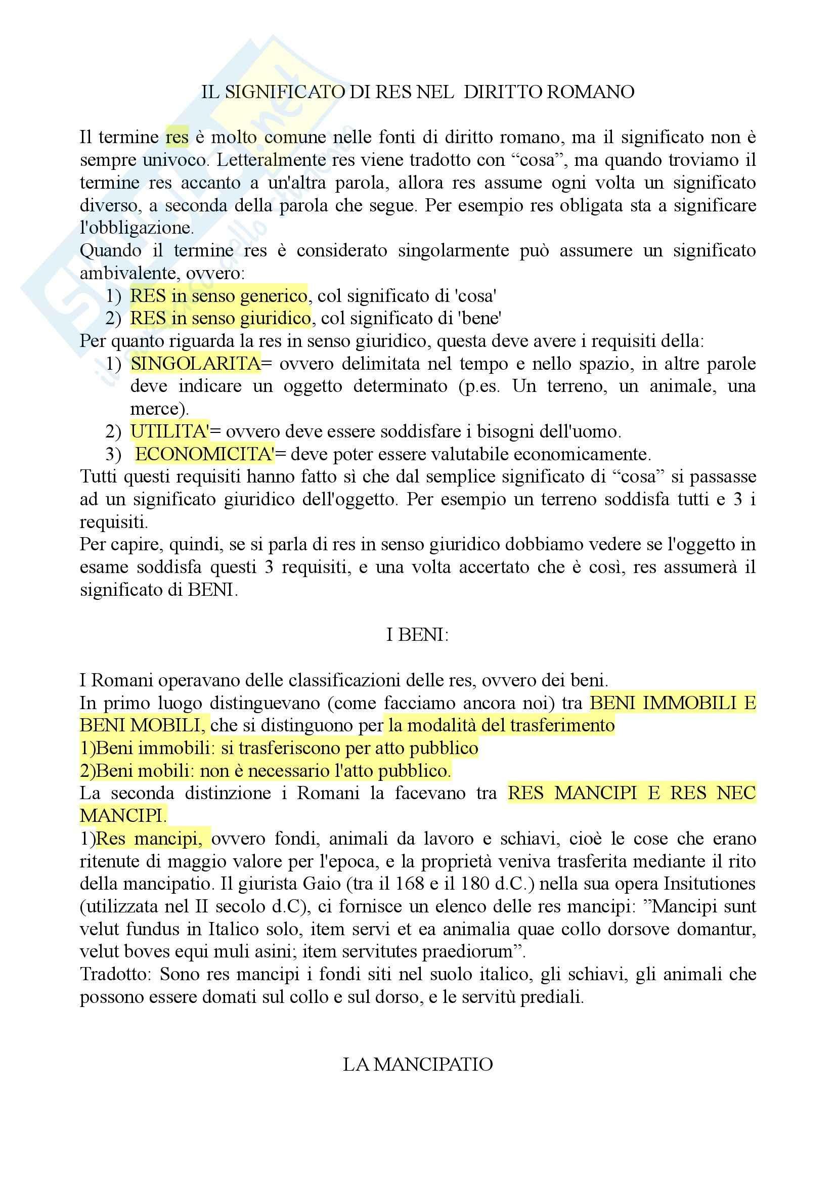 Diritto romano - il significato di res