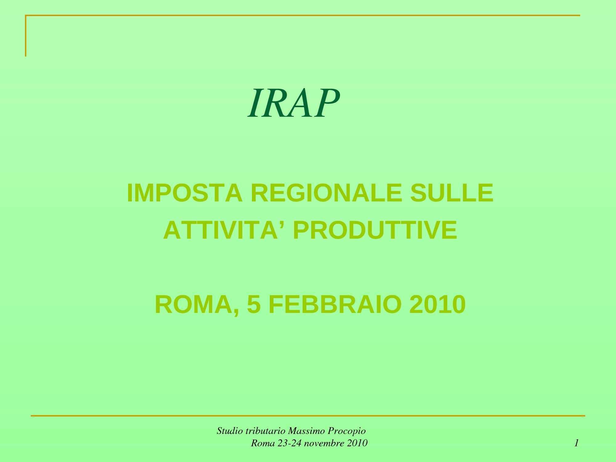 Imposta regionale attività produttive (Irap)
