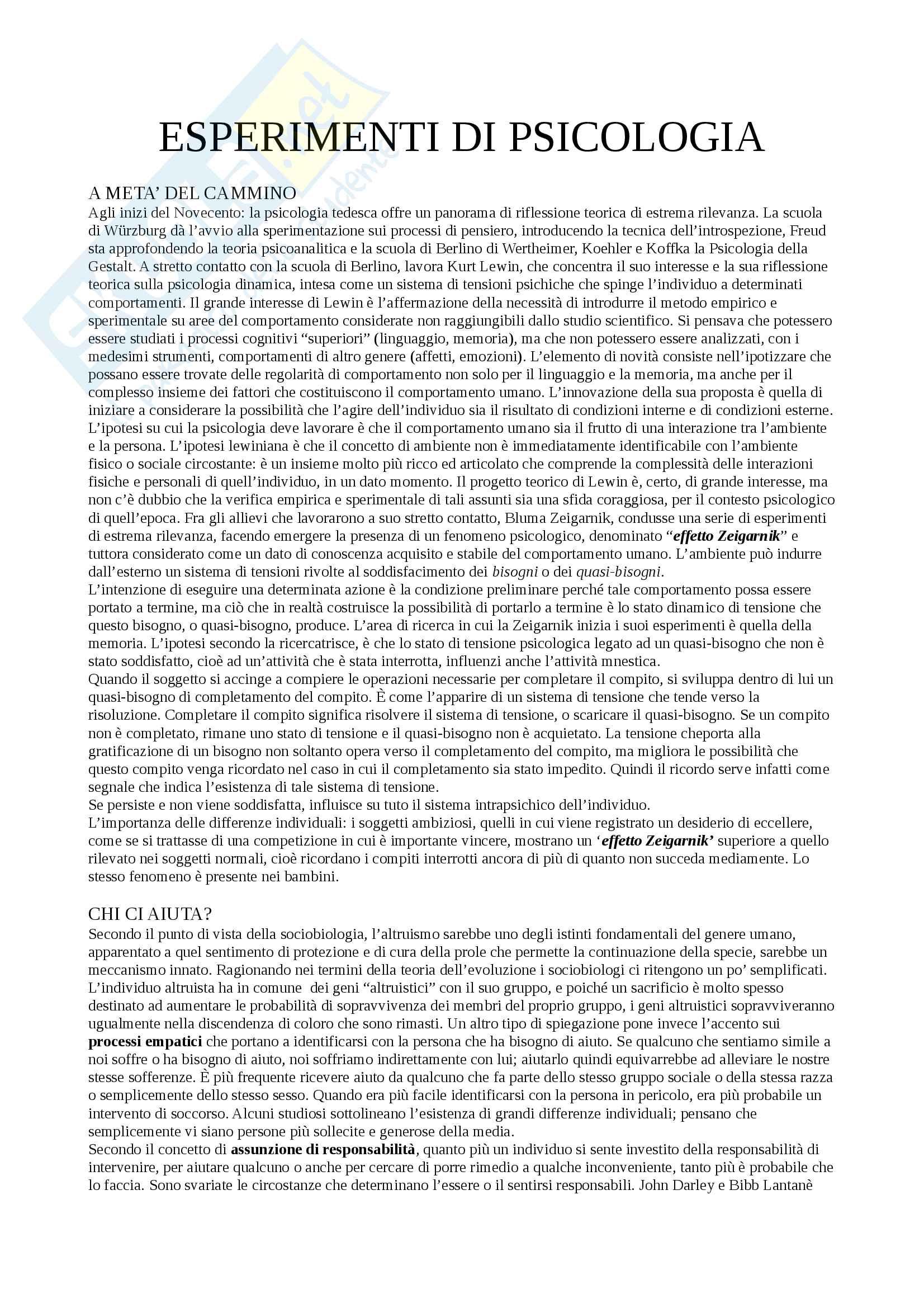 Riassunto esame Classici della psicologia, docente Meneghetti, libro consigliato Esperimenti di psicologia, D'Urso e Giusberti