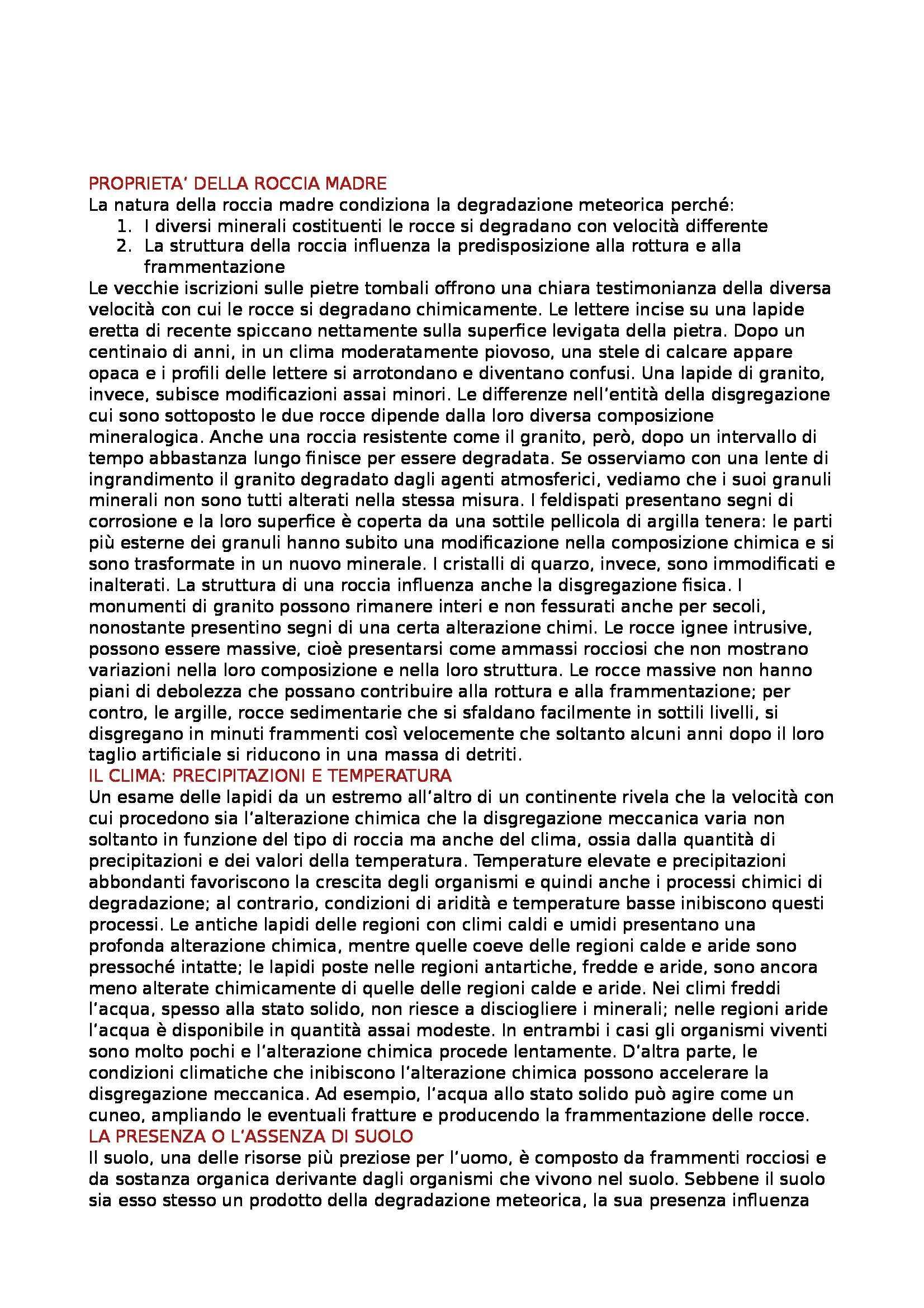 Geografia fisica - degradazione meteorica ed erosione Pag. 2