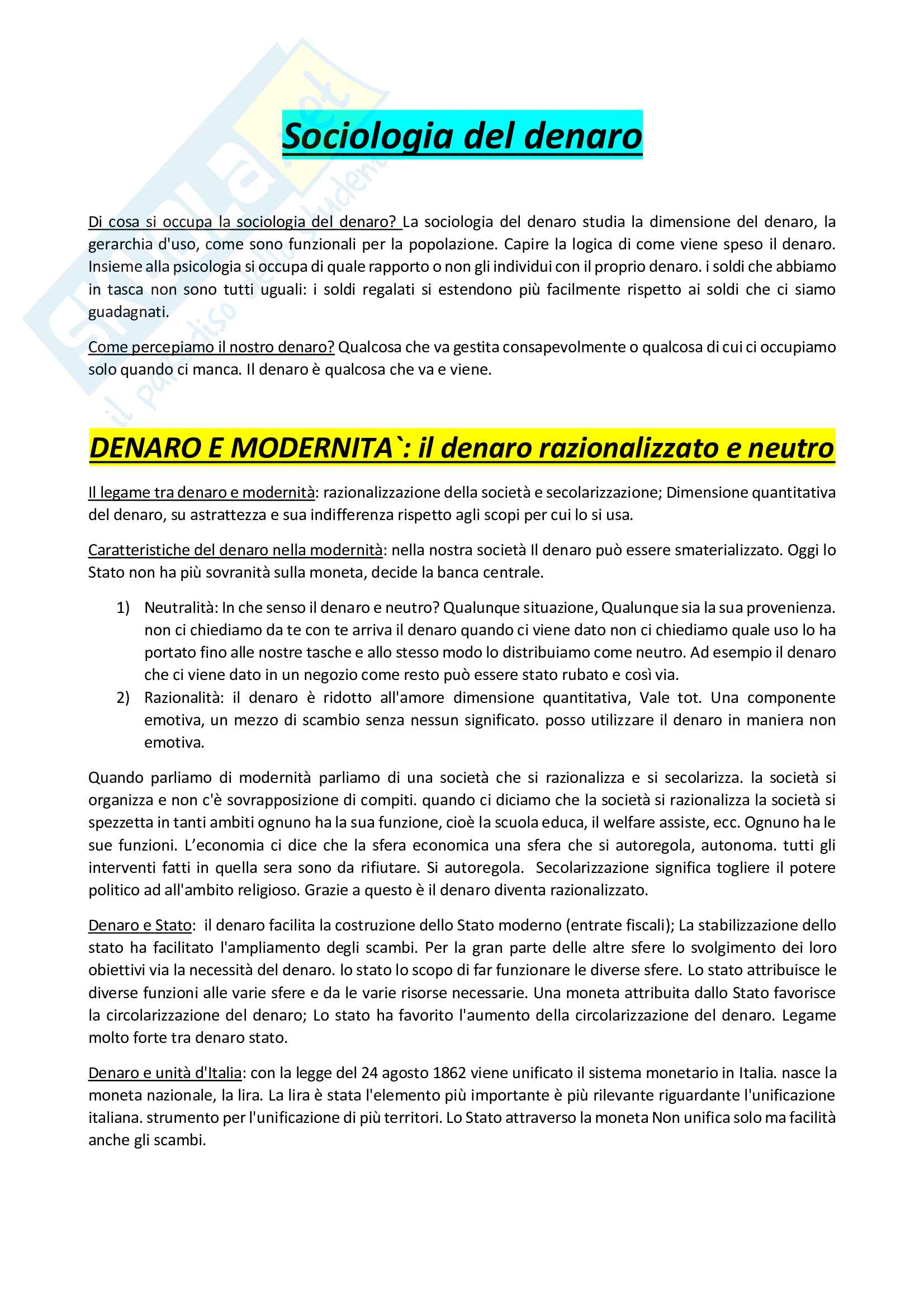 Sociologia del denaro - Appunti riscritti
