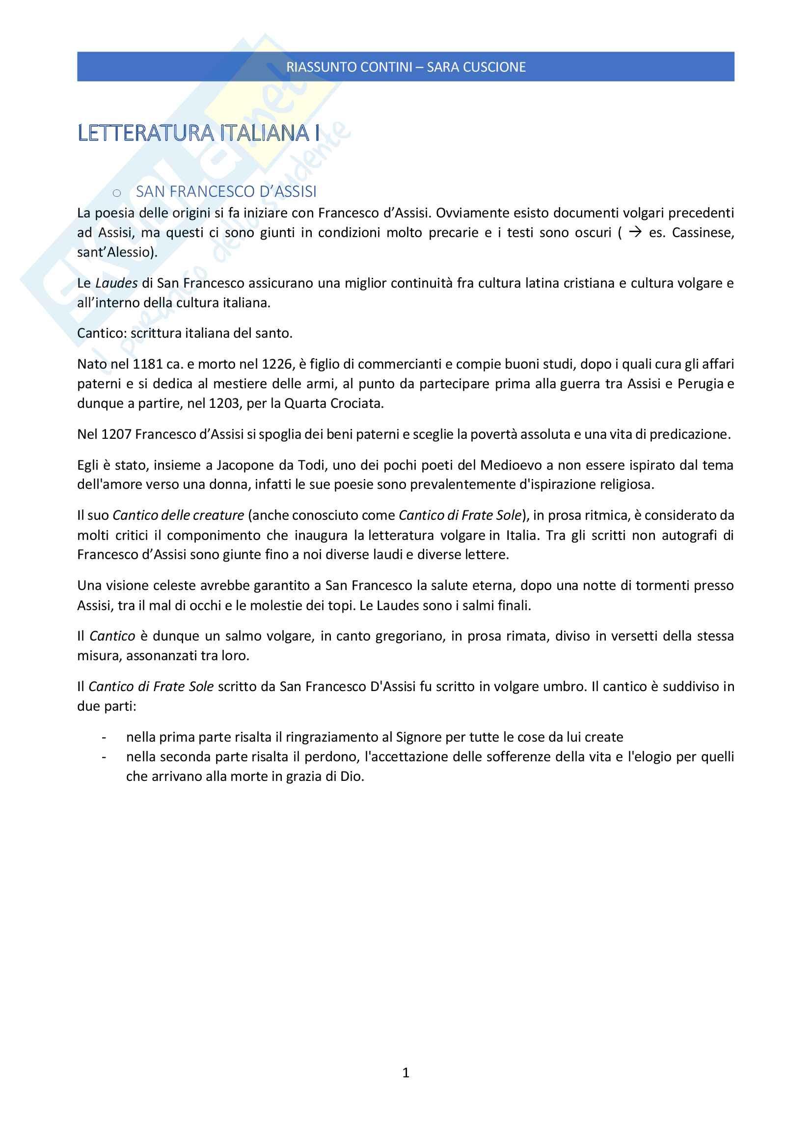 Riassunto esame Letteratura Italiana delle Origini, prof. Giuseppe Frasso, libro consigliato Letteratura italiana delle origini di Gianfranco Contini