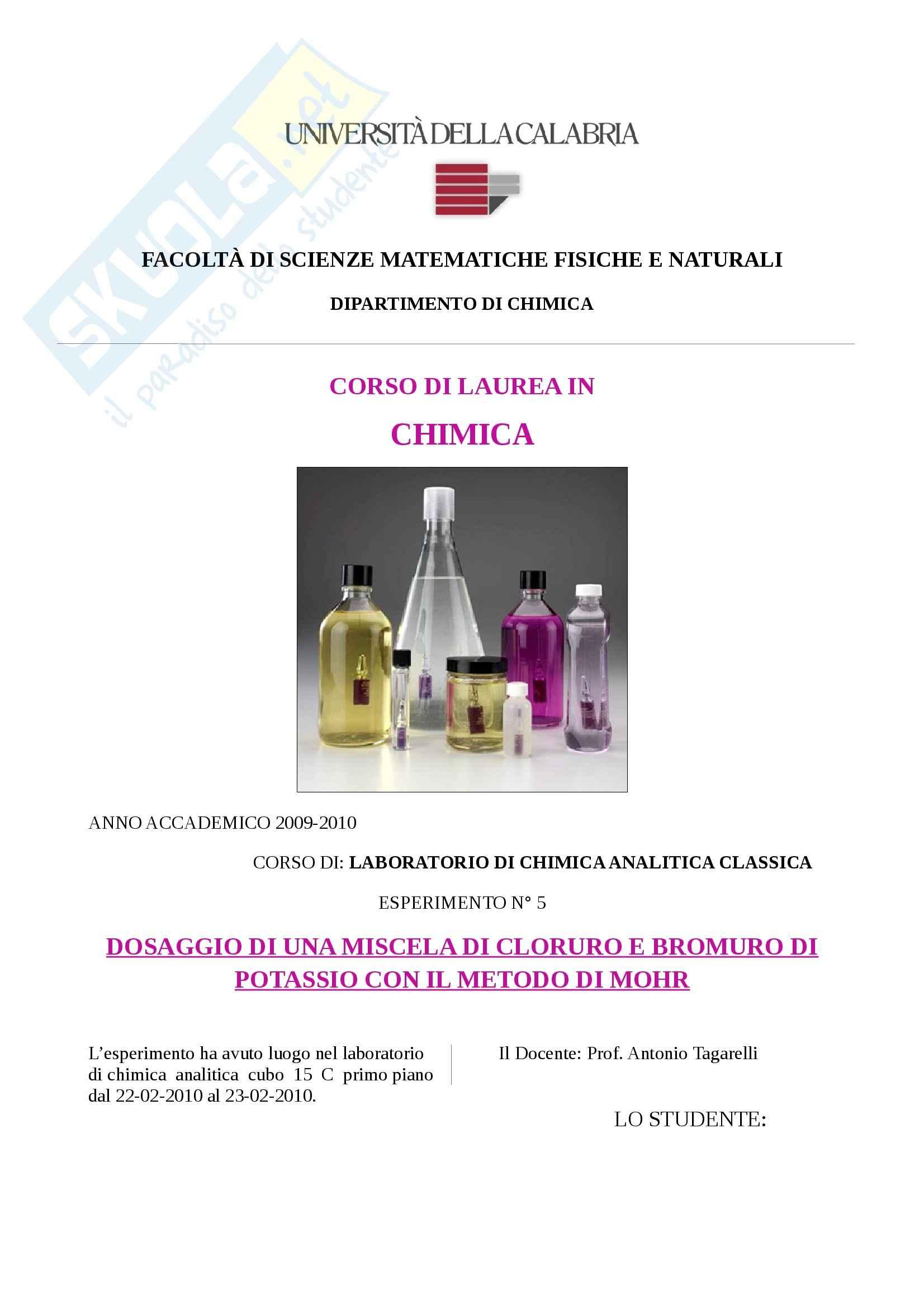 Laboratorio di chimica analitica classica - dosaggio di una miscela di cloruro e bromuro di potassio col metodo di mohr