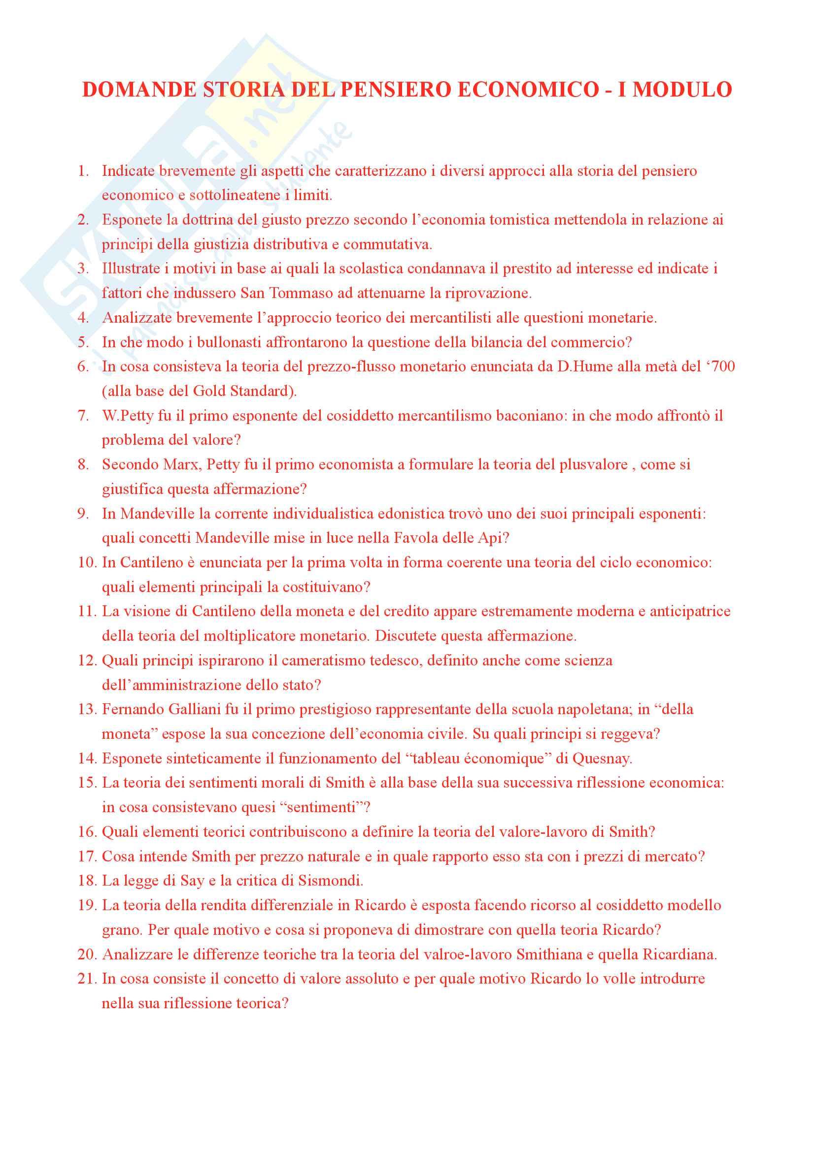 Storia del pensiero economico - Domande e risposte d'esame I parziale - Prof. Fornasari Massimo - VOTO 30