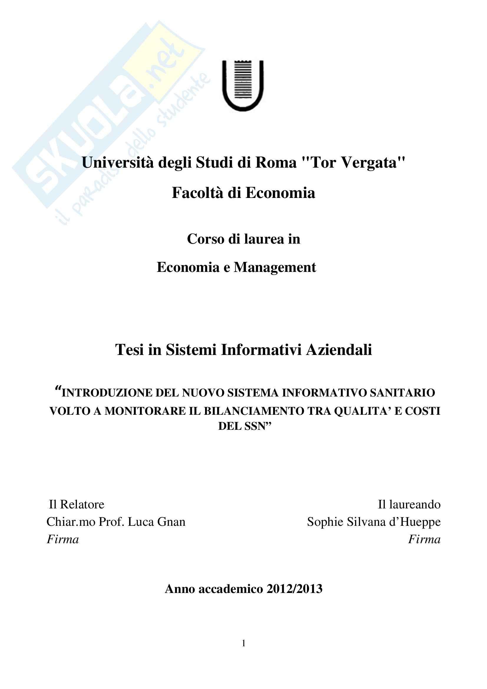 tesi L. Gnan Sistemi informativi