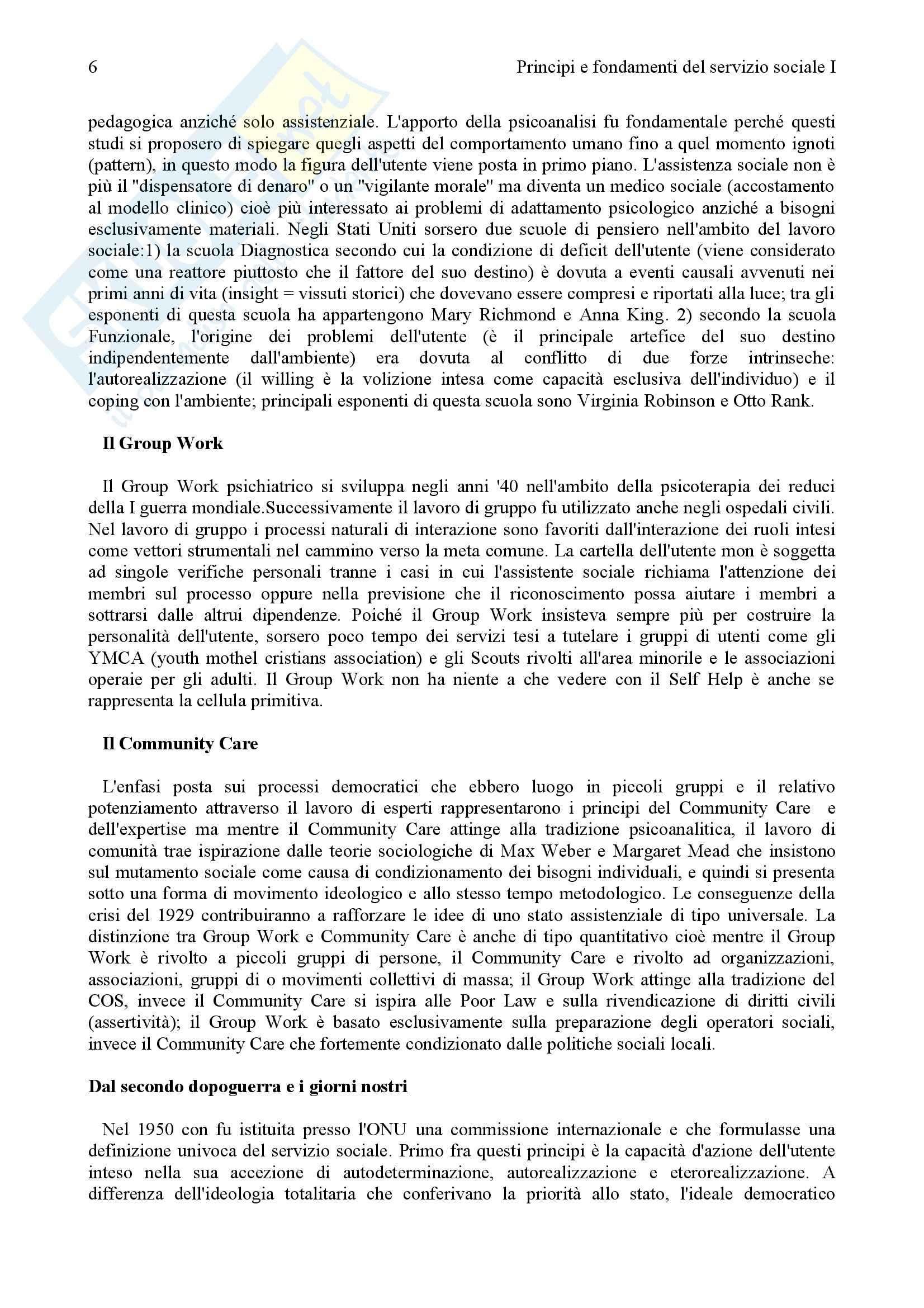 Principi e fondamenti del servizio sociale - Appunti Pag. 6