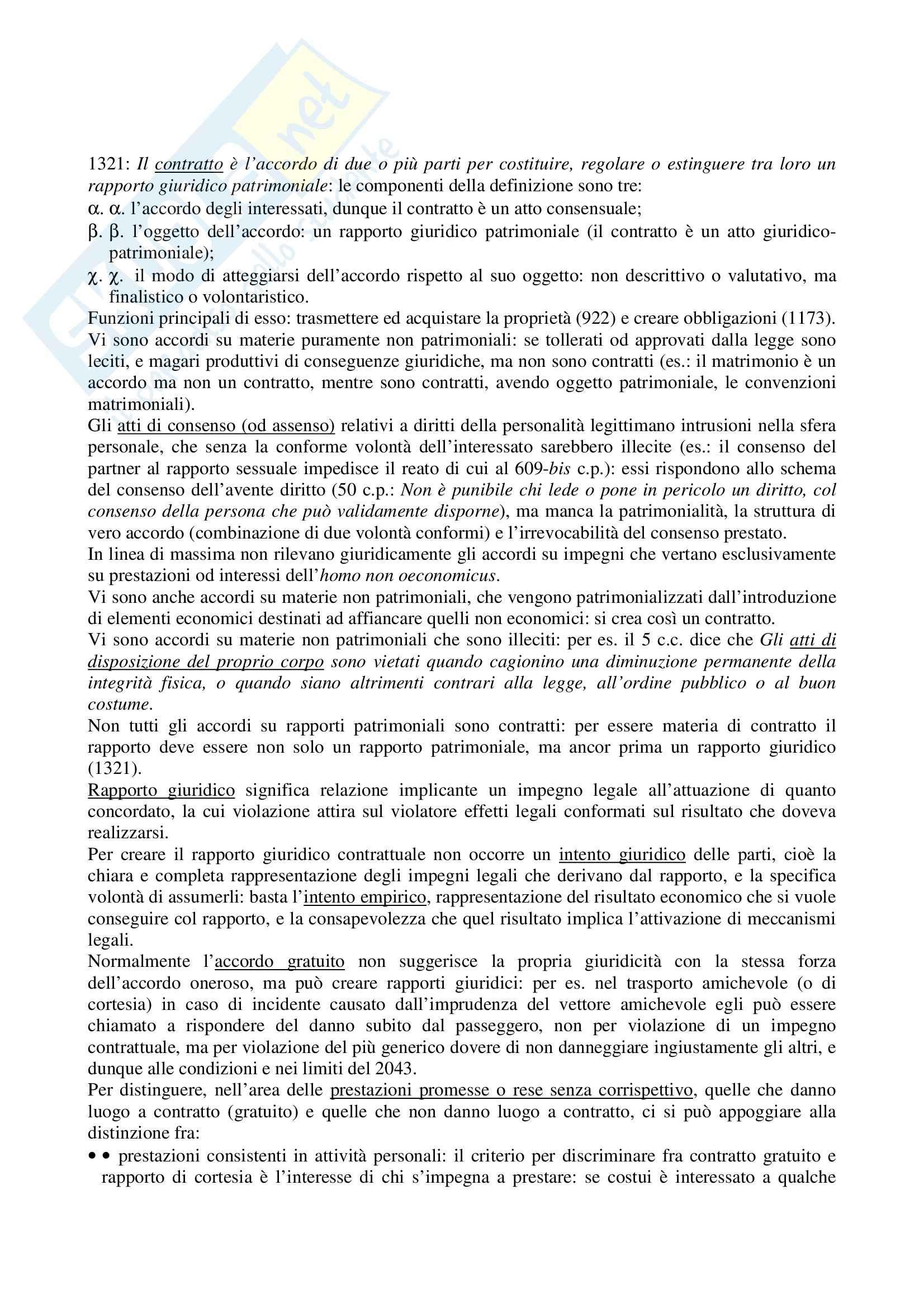Riassunto esame Diritto Civile, prof. La Rocca, libro consigliato Diritto civile, Roppo: il contratto