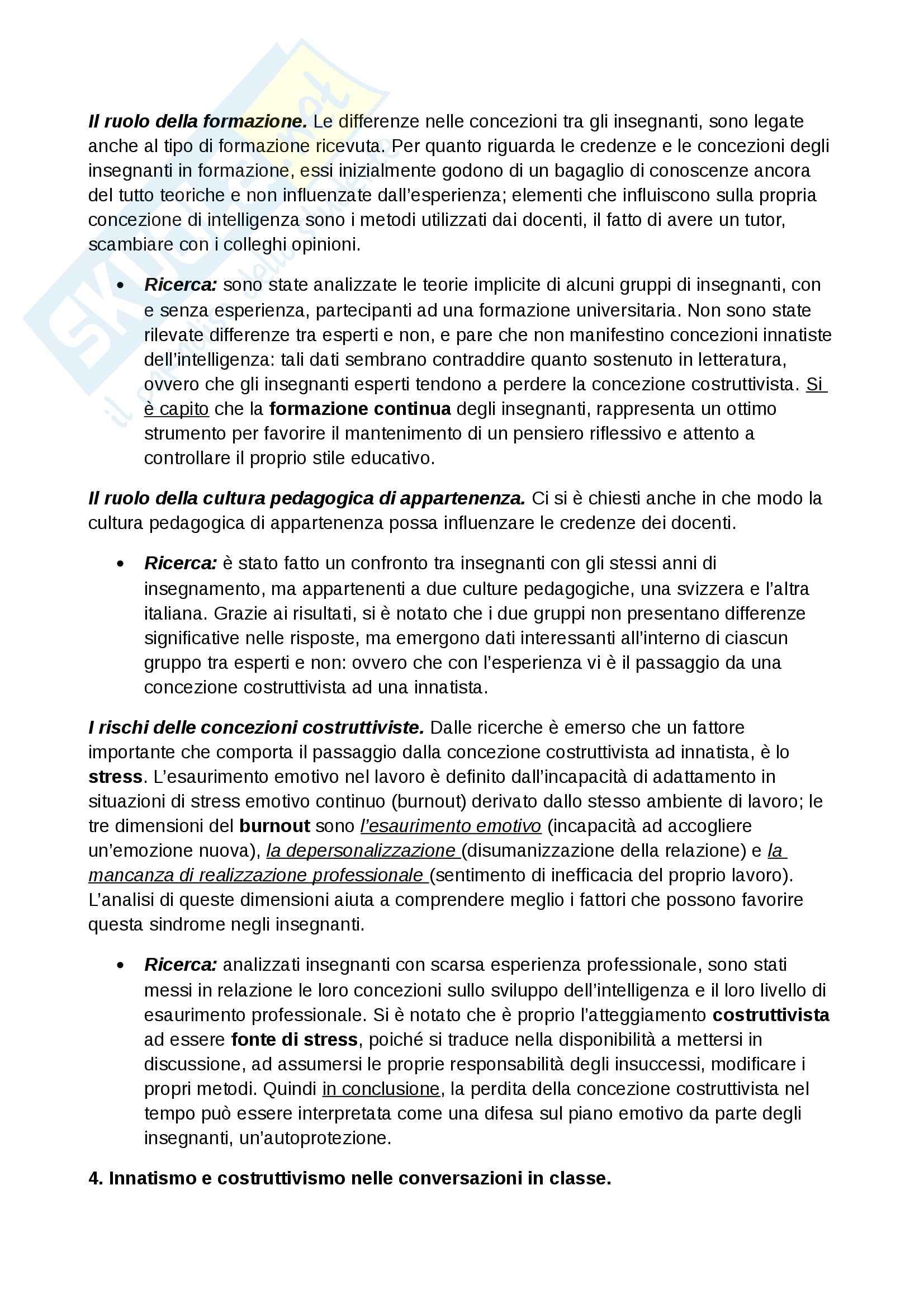 Riassunto esame Psicologia dello sviluppo, prof. Farina, libro consigliato Gli insegnanti pensano l'intelligenza, Fiorilli Pag. 6