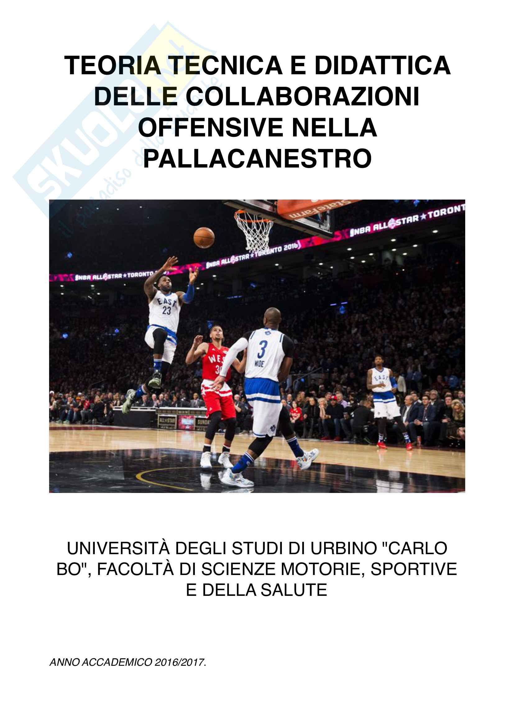 Teoria, tecnica e didattica sport di squadra: tesina collaborazioni offensive basket