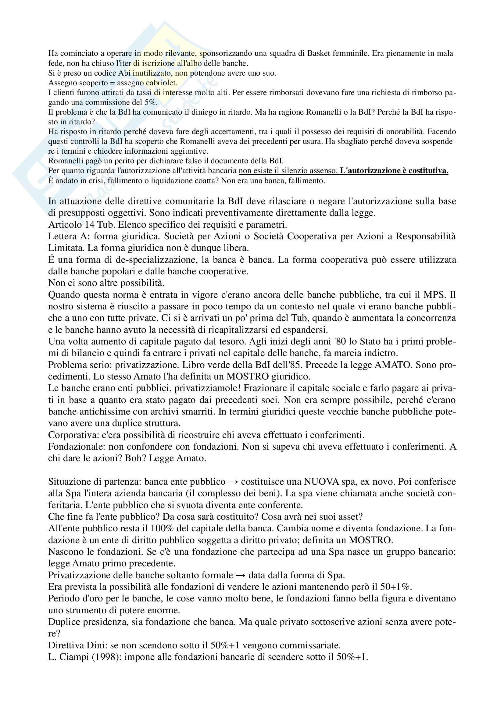 Legislazione bancaria 1 - Appunti parte II Pag. 2