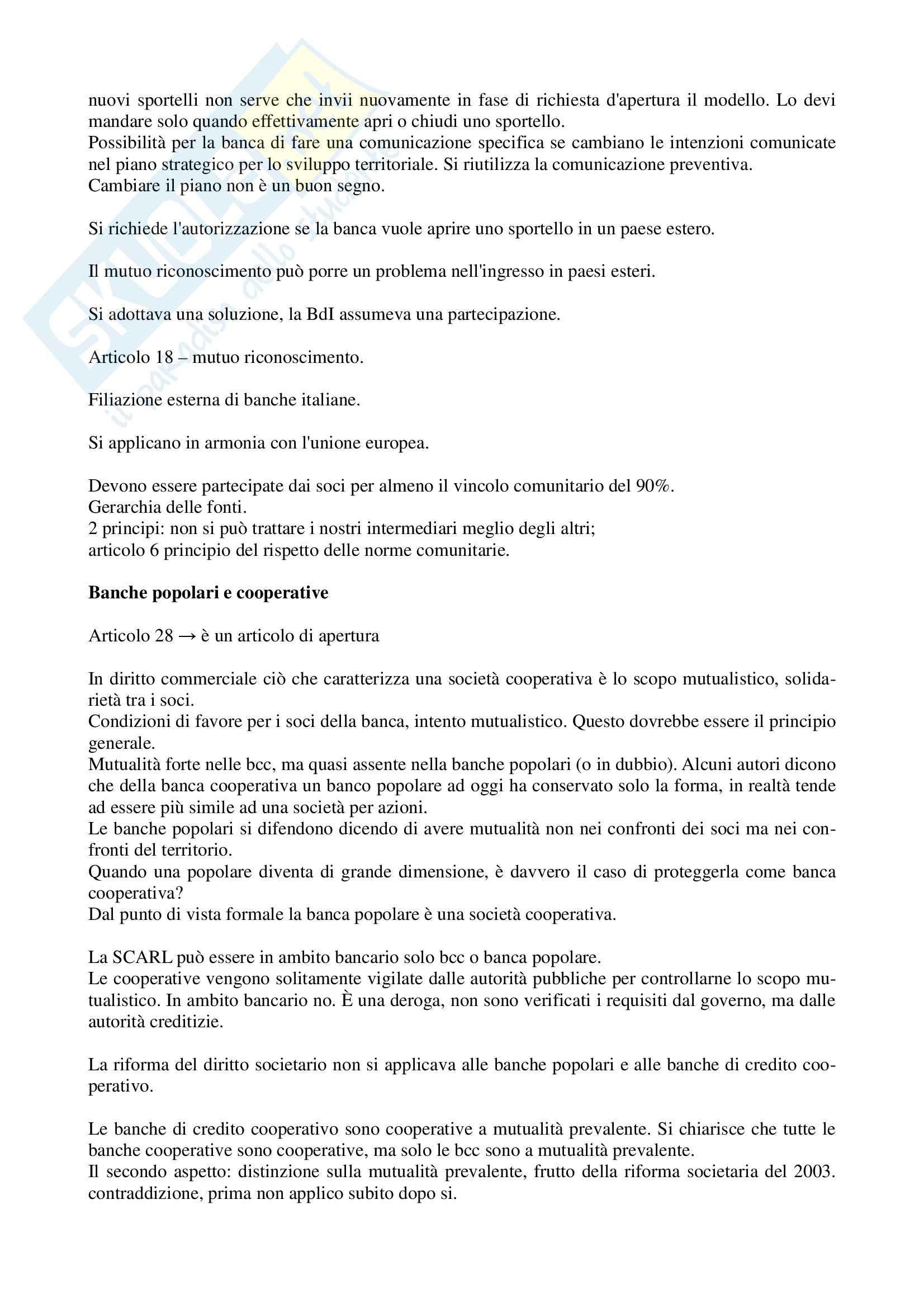 Legislazione bancaria 1 - Appunti parte II Pag. 6