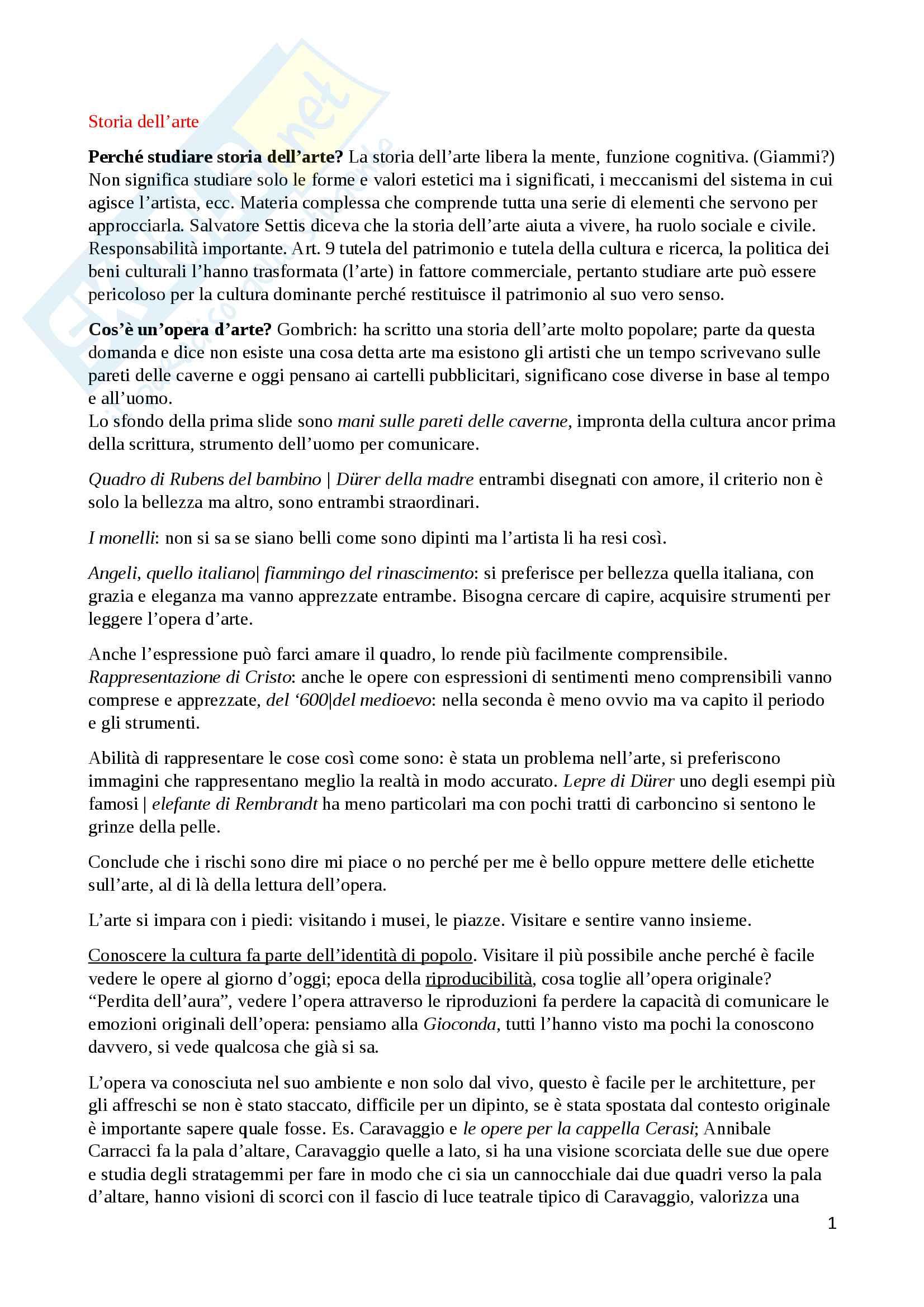 Storia dell'arte (dal paleocristiano al gotico internazionale) - appunti completi