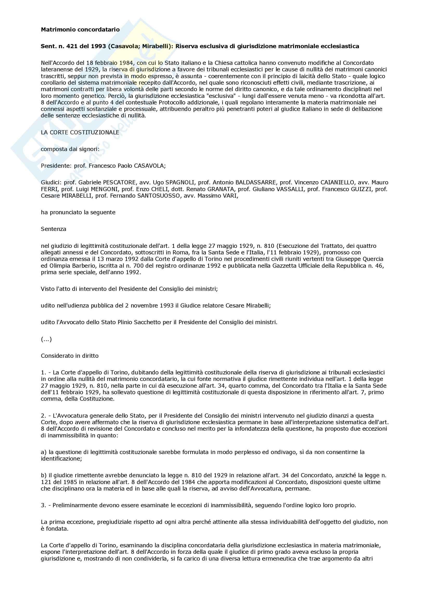 Diritto ecclesiastico - Sentenza n. 421 del 1993