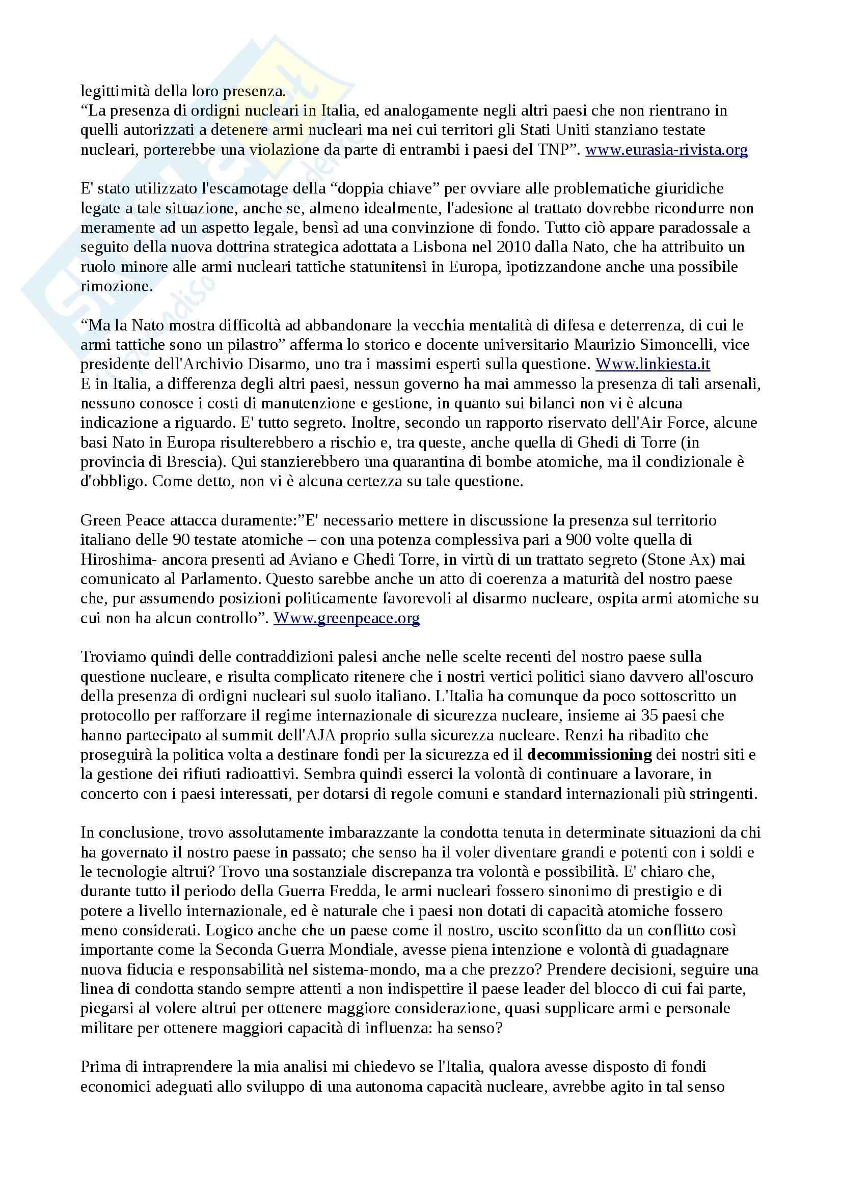 Rapporti Italia - Stati Uniti sul nucleare Pag. 6