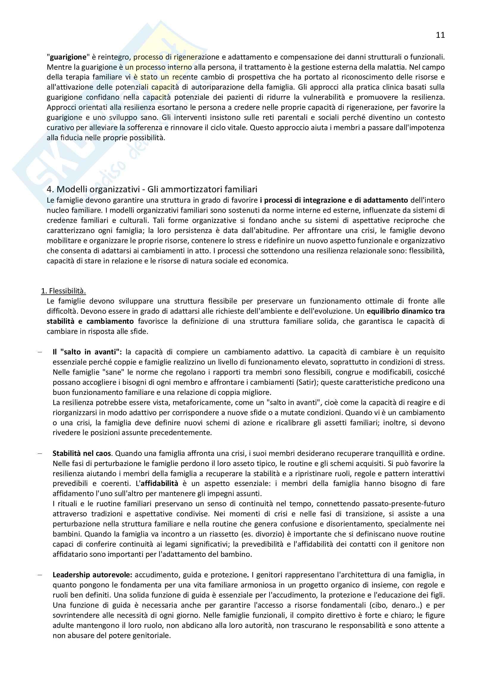 Riassunto per l'esame di Normalità e patologia delle relazioni familiari della prof.ssa Carli, libro consigliato La resilienza familiare Pag. 11