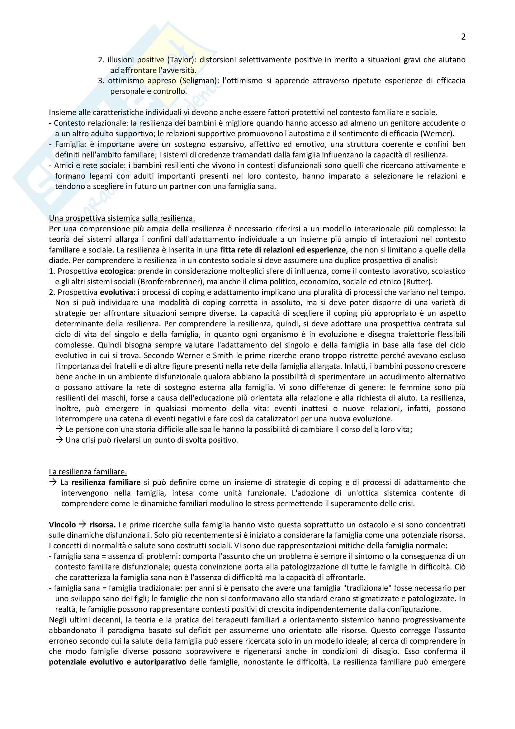 Riassunto per l'esame di Normalità e patologia delle relazioni familiari della prof.ssa Carli, libro consigliato La resilienza familiare Pag. 2