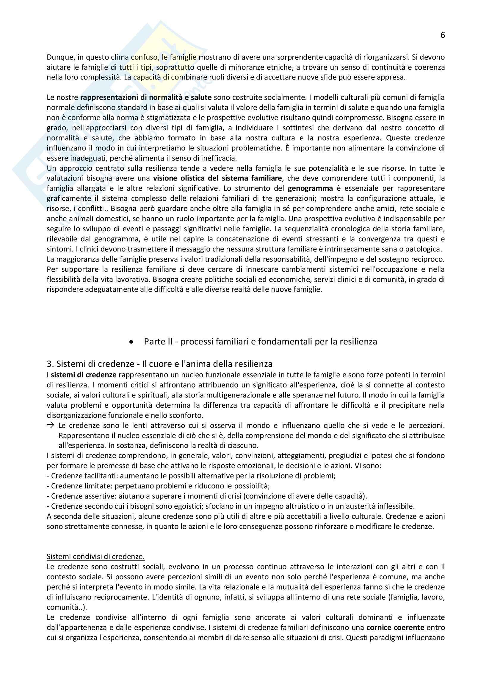 Riassunto per l'esame di Normalità e patologia delle relazioni familiari della prof.ssa Carli, libro consigliato La resilienza familiare Pag. 6