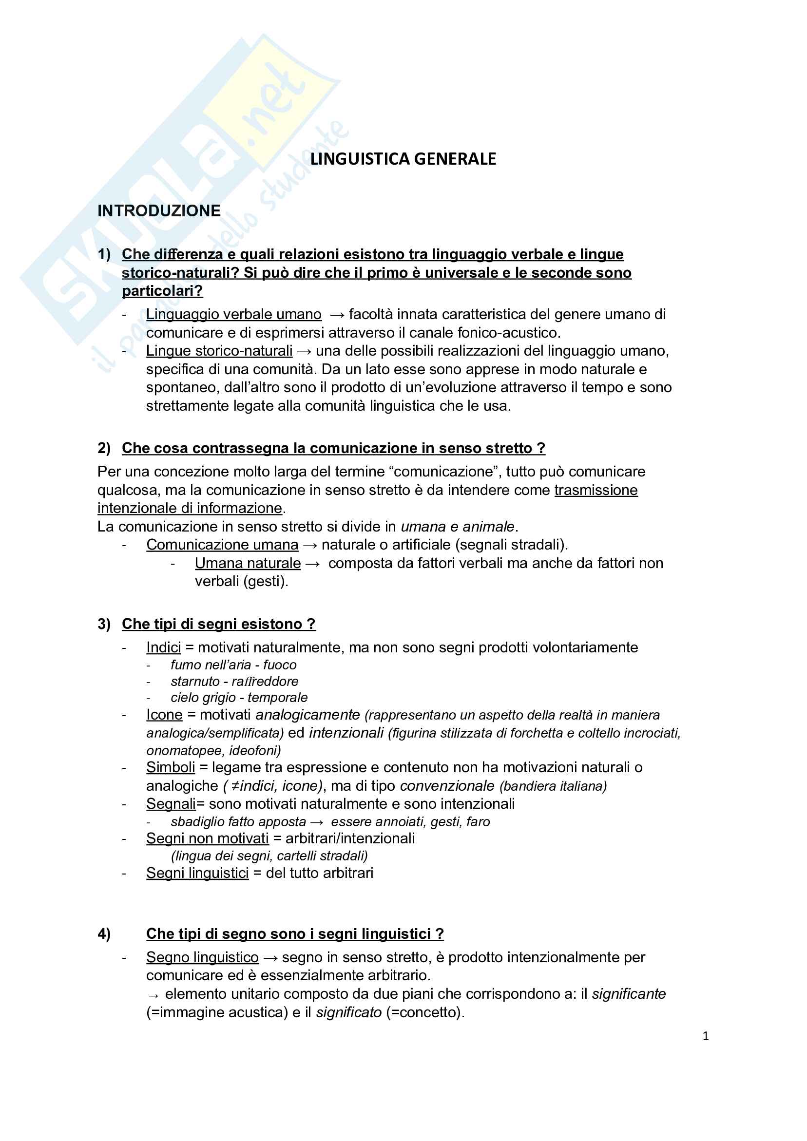 Riassunto esame linguistica e glottologia con appunti presi in classe integrati allo studio dal libro