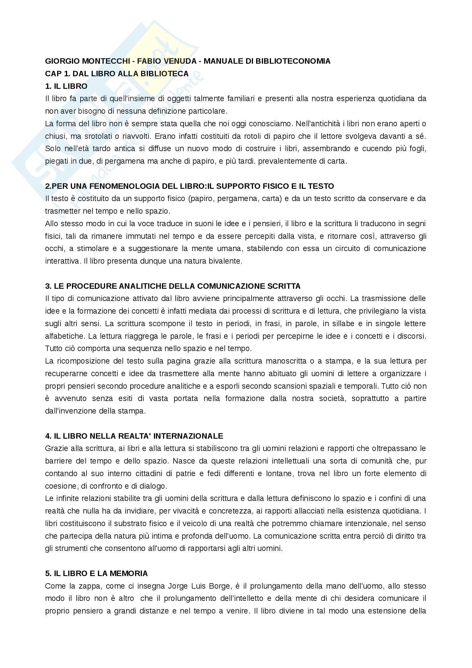 Riassunto esame Biblioteconomia, prof. Montecchi, libro consigliato: Manuale di Biblioteconomia di Giorgio Montecchi e Fabio Venuda