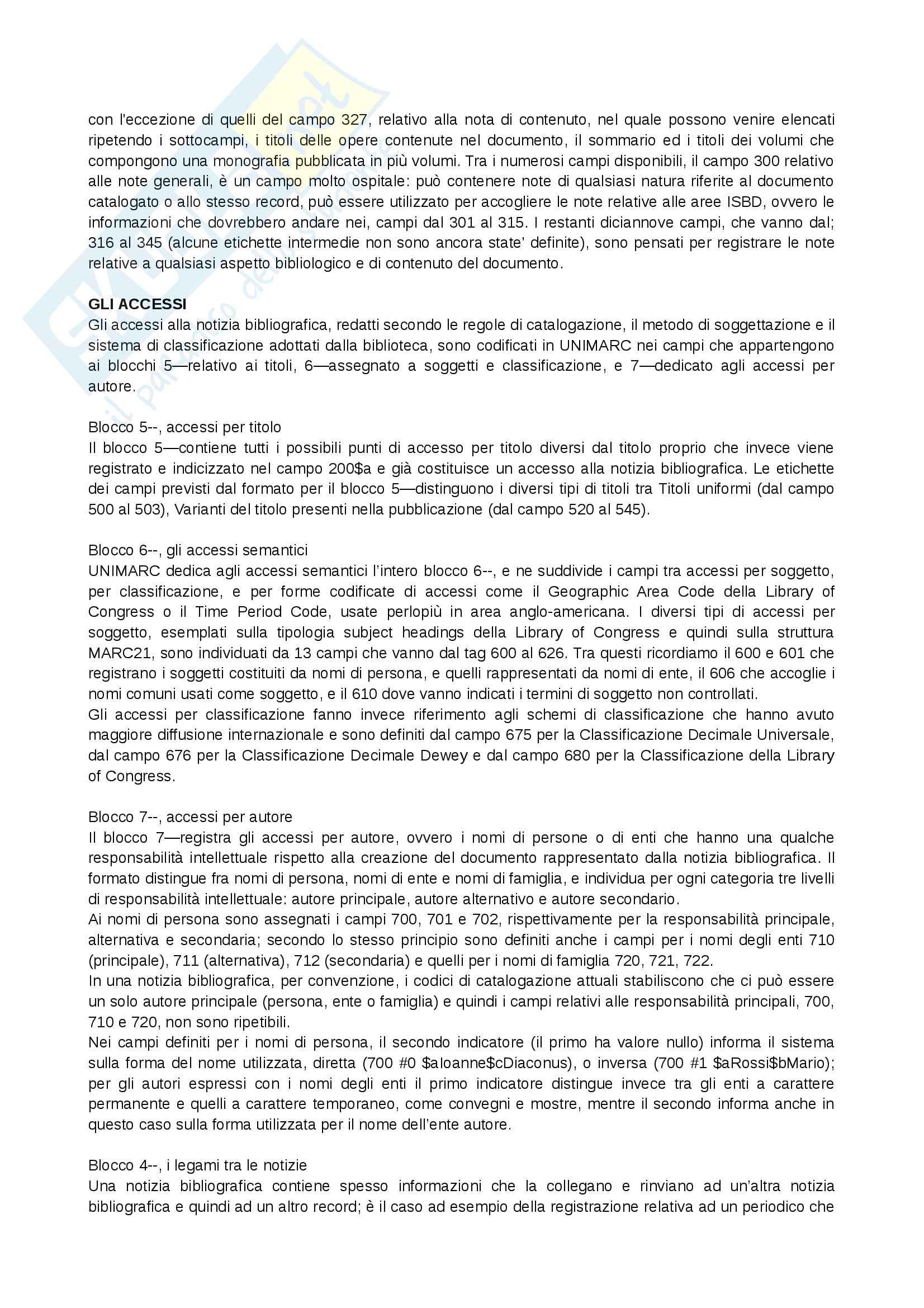 Riassunto esame Biblioteconomia, prof. Montecchi, libro consigliato: Manuale di Biblioteconomia di Giorgio Montecchi e Fabio Venuda Pag. 51