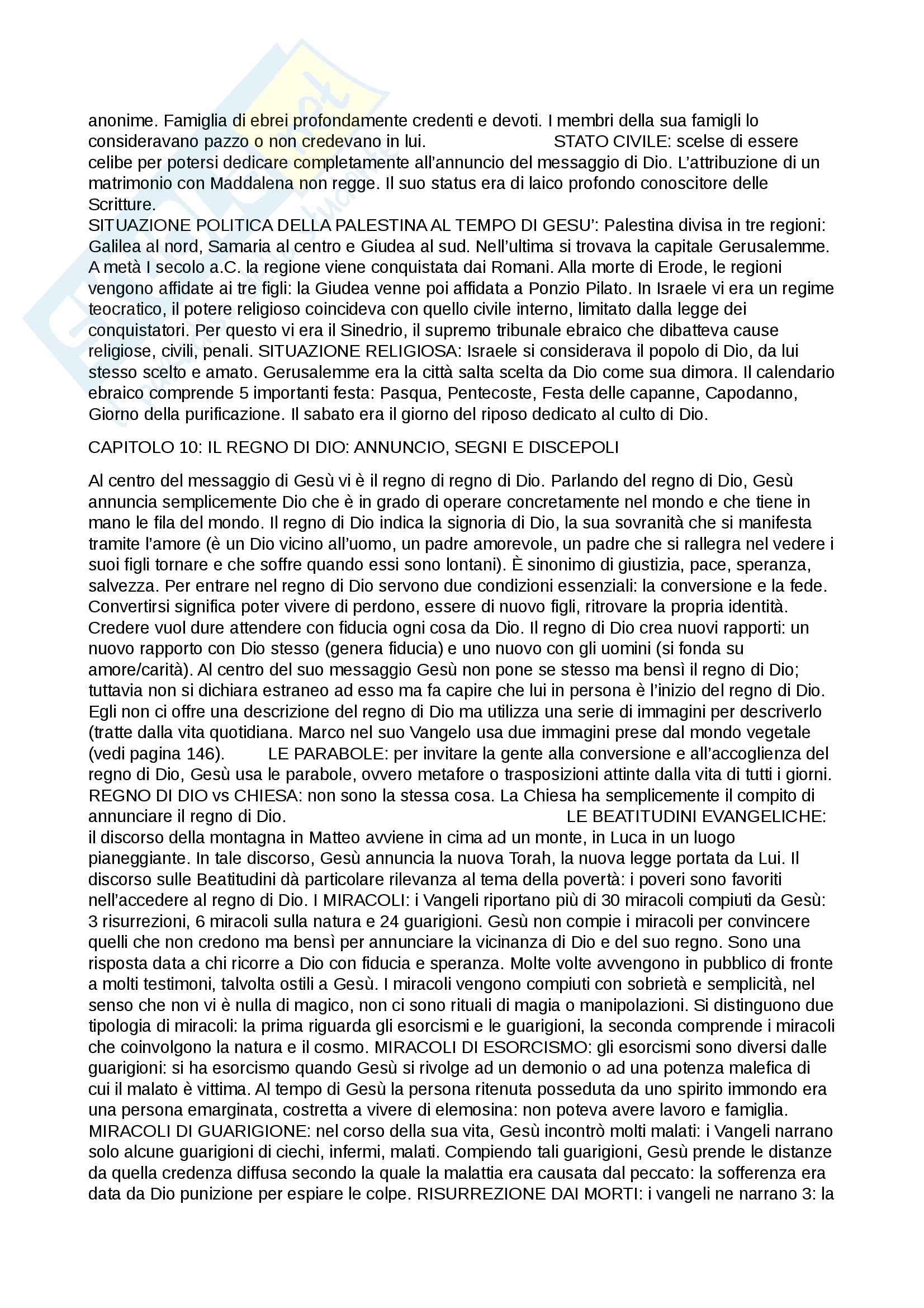 Riassunti esame Teologia I, prof. Bernardino Pessani, dispensa consigliata Introduzione alla teologia e questioni di teologia fondamentale Pag. 11