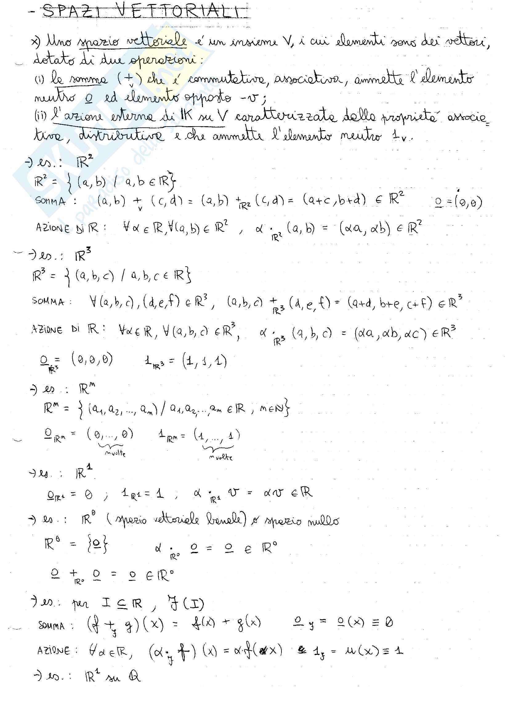 """Appunti di """"Fondamenti di algebra lineare e geometria"""""""