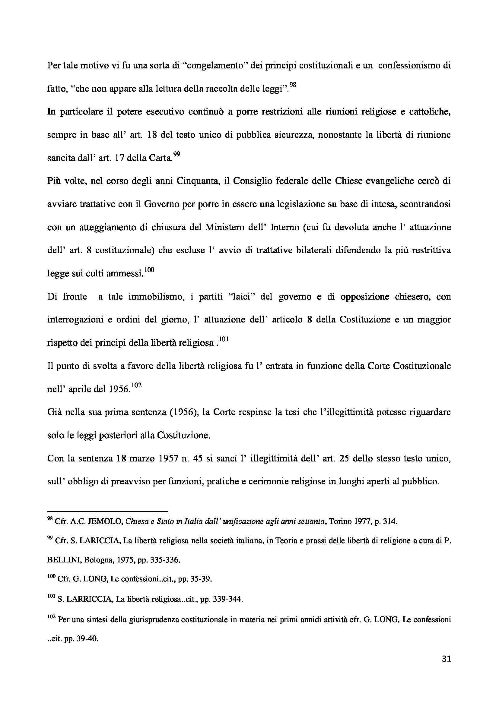 Tesi - Libertà religiosa Pag. 31