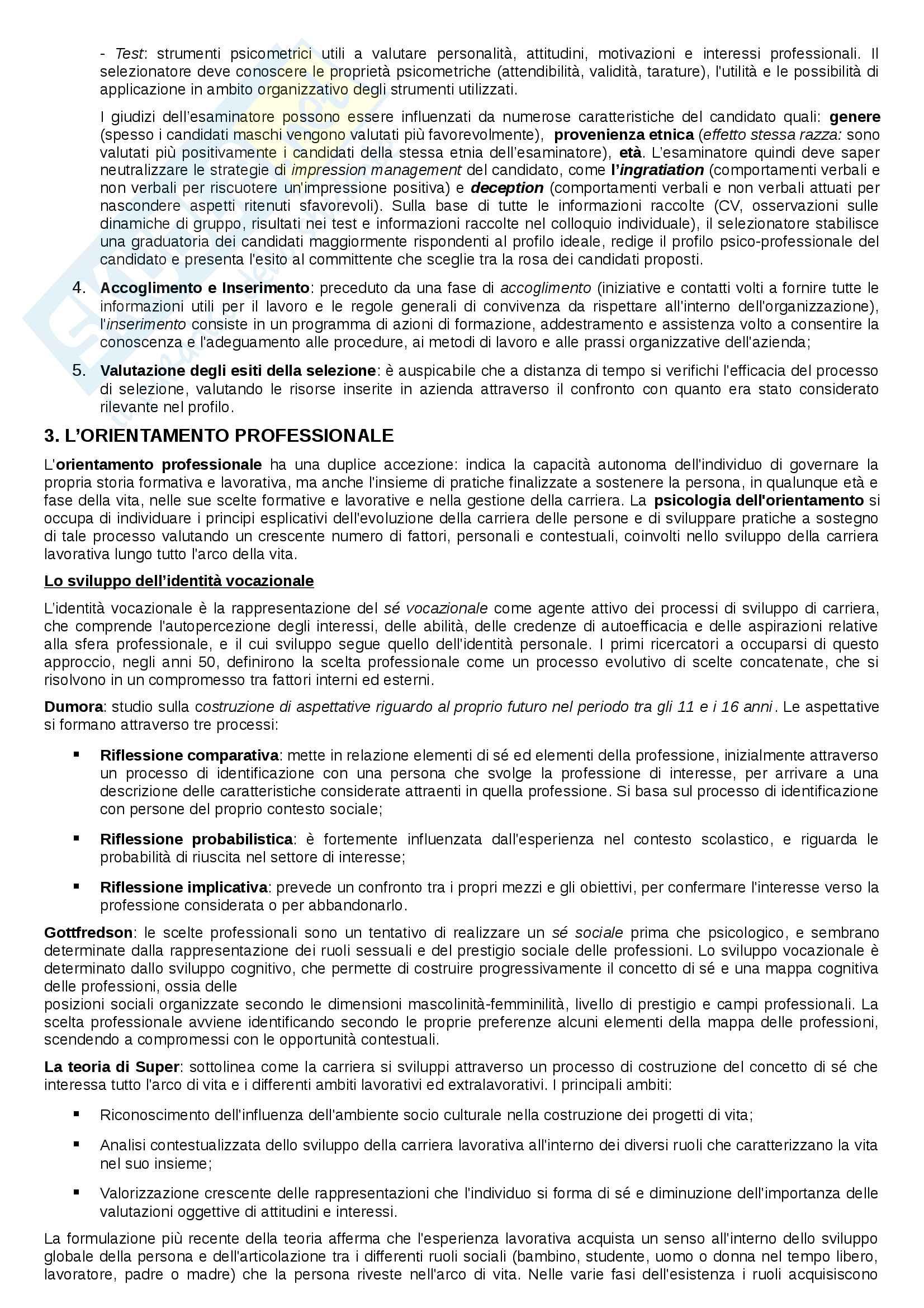 """Riassunto esame Psicologia del Lavoro e delle Organizzazioni, prof. Tassoni, libro consigliato """"Psicologia delle Risorse Umane"""", Argentero, Cortese Pag. 2"""