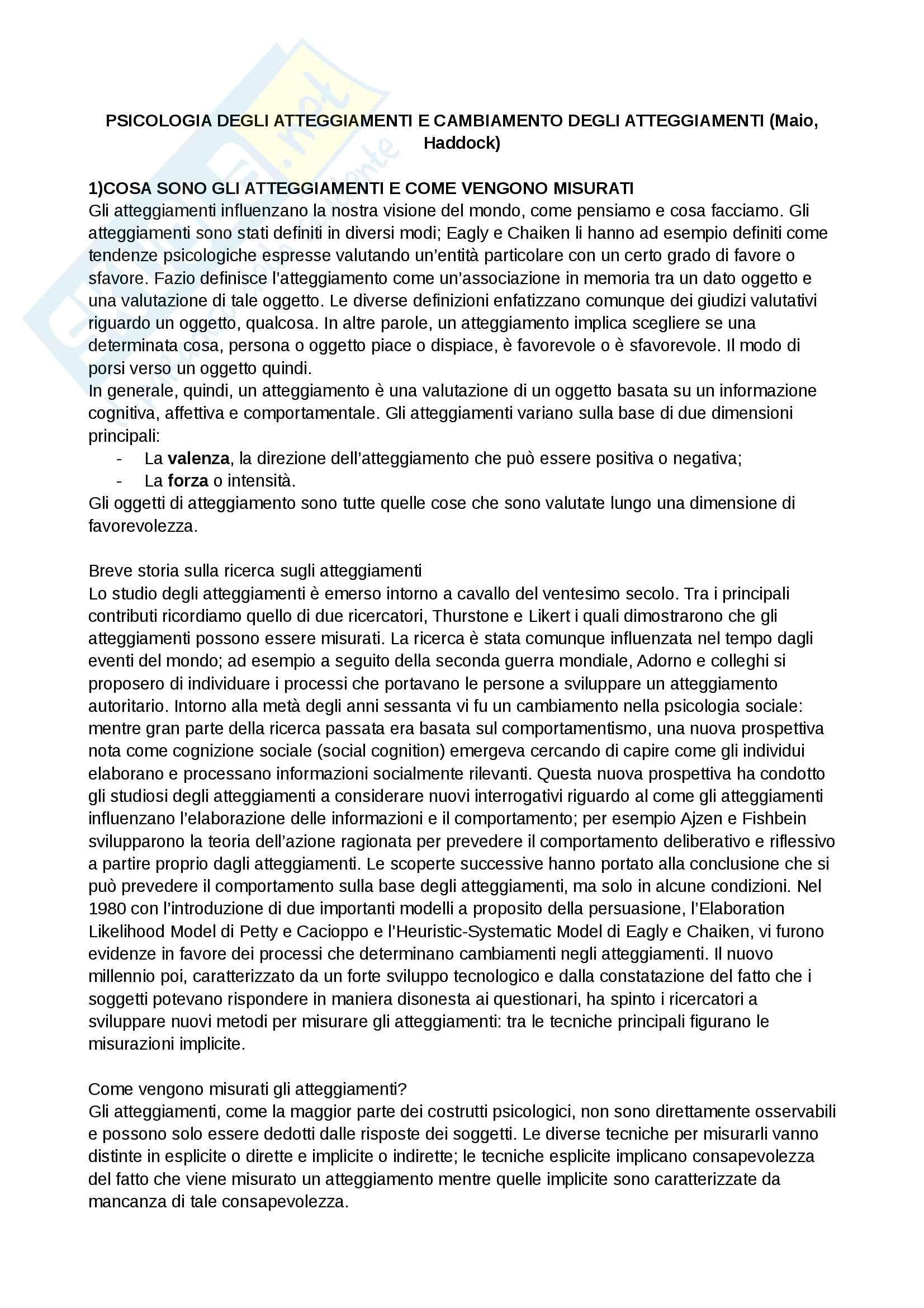 Riassunto esame e Appunti completi di Atteggiamenti e Opinioni per esame prof. Mari, libro consigliato The Psychology of attitudes and attitude change