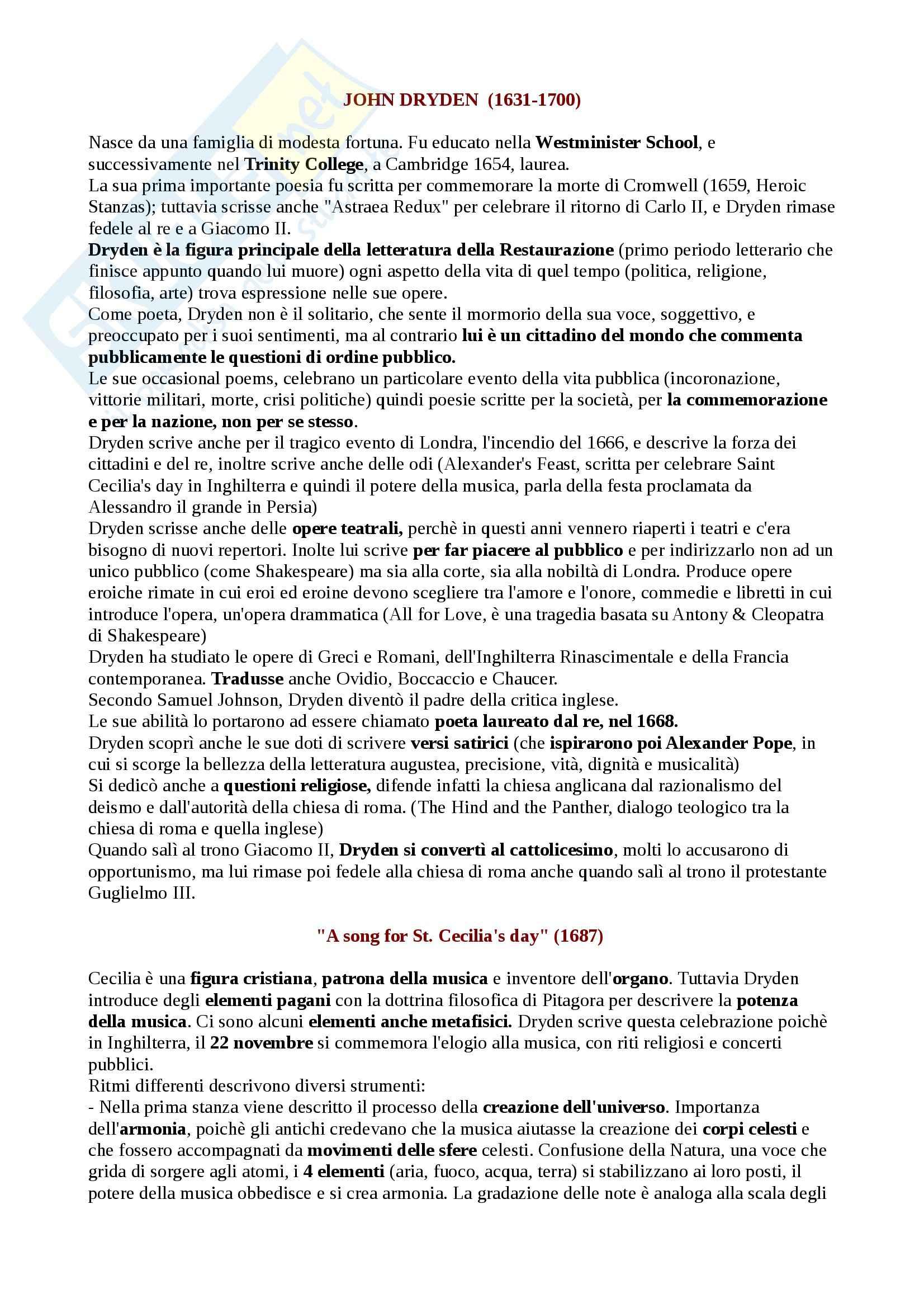 Letteratura Inglese 2 - Appunti