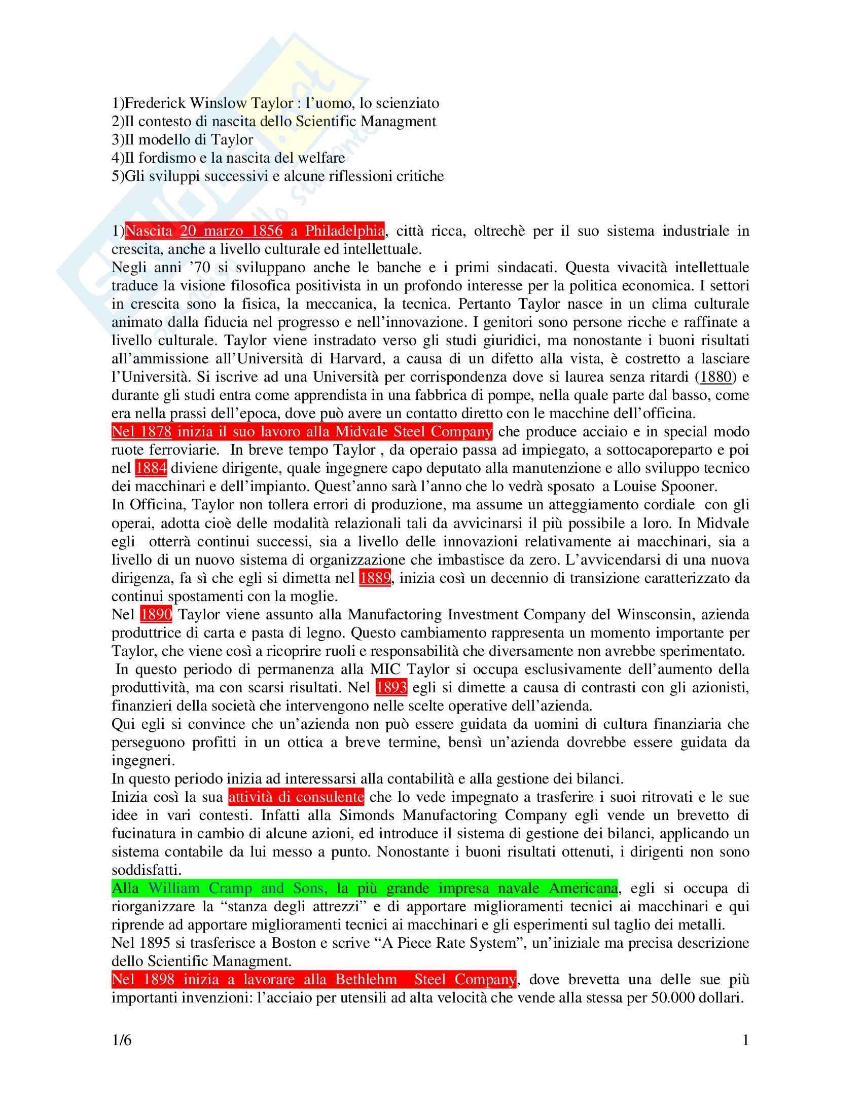 Riassunto esame Psicologia del Lavoro, prof. Pietroni, libro consigliato Taylor, Le origini dello Scientific management, Zuffo