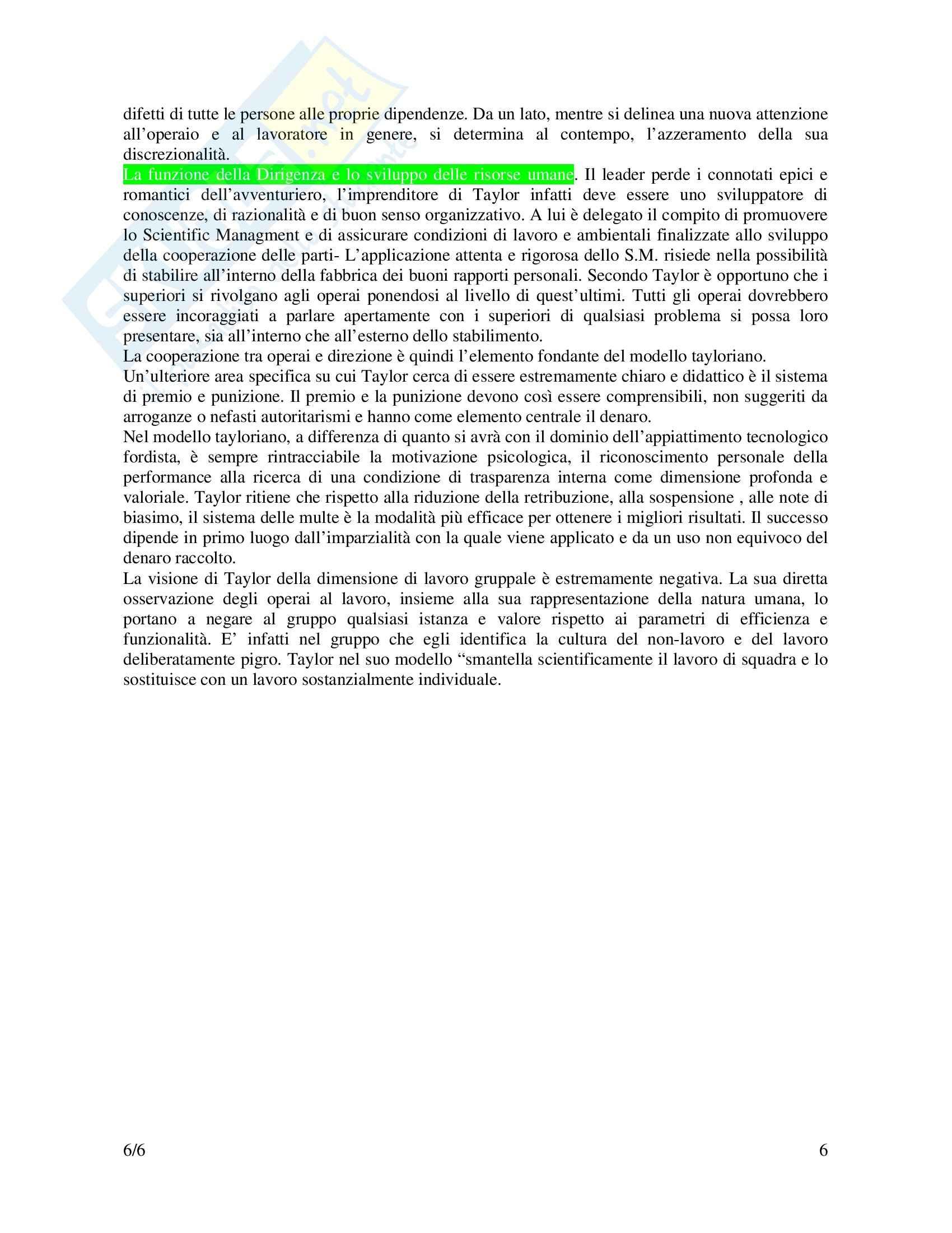 Riassunto esame Psicologia del Lavoro, prof. Pietroni, libro consigliato Taylor, Le origini dello Scientific management, Zuffo Pag. 6
