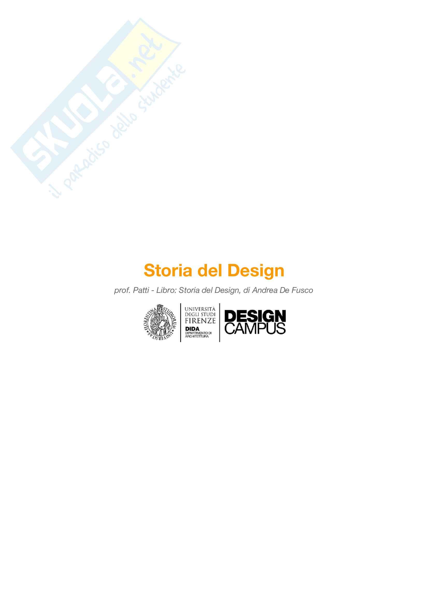 Riassunto esame Storia del Design, prof. Patti, libro consigliato Storia del Design, De Fusco