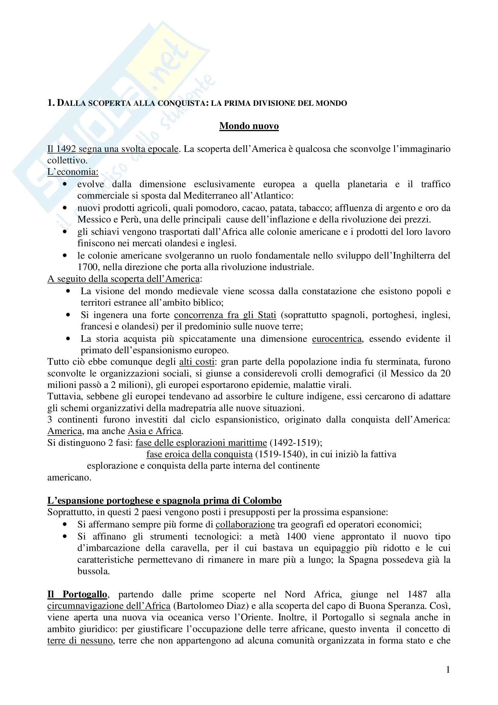 Riassunto esame Storia, prof. Cancila, libro consigliato Storia moderna, Musi