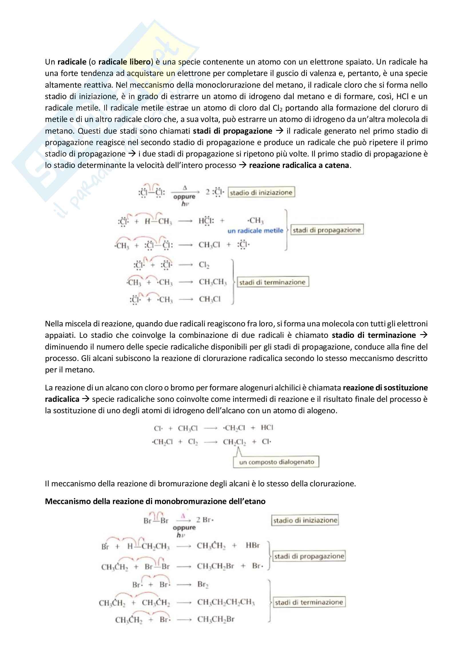 Chimica organica, Reazioni degli alcani - I radicali Pag. 2
