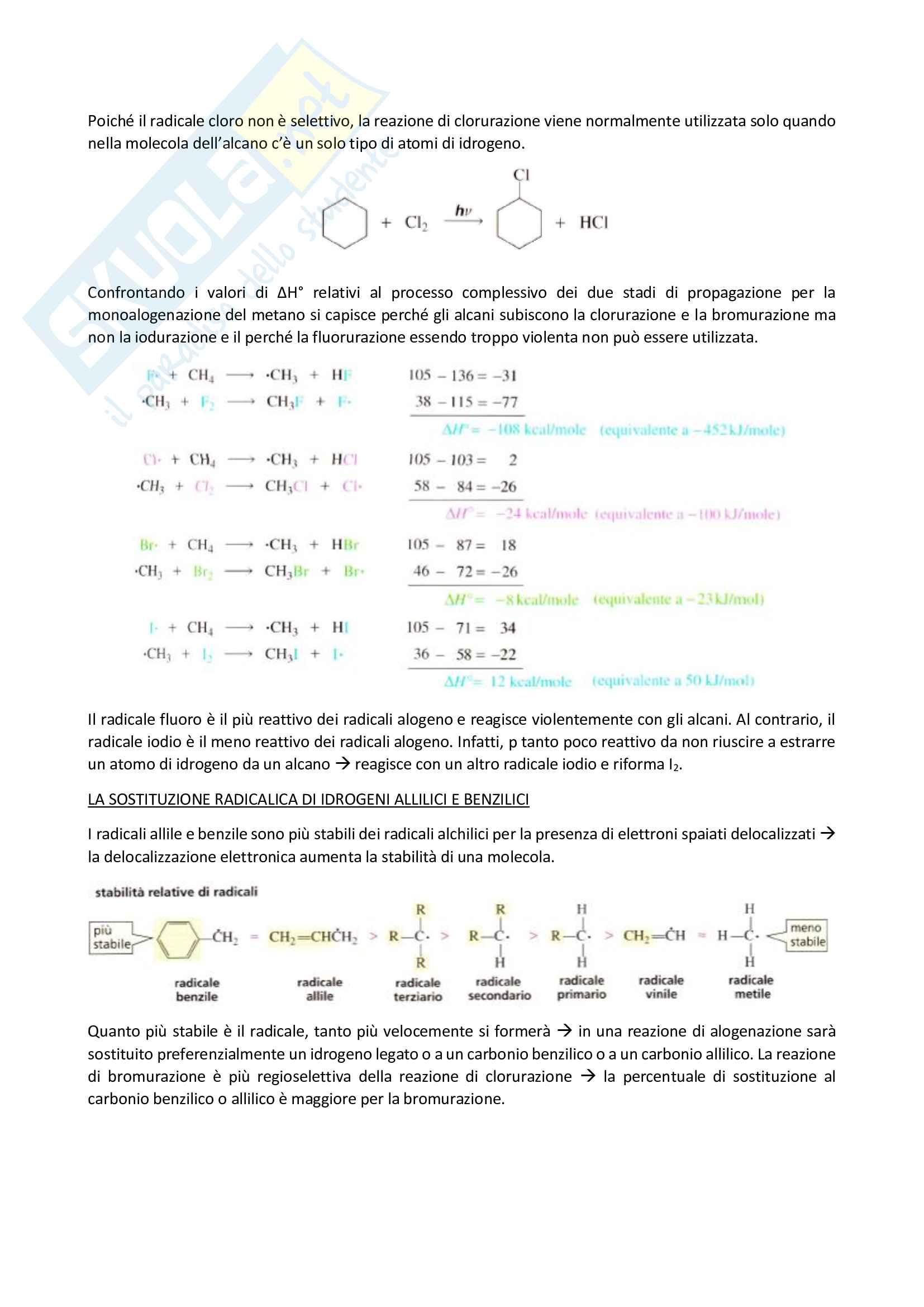 Chimica organica, Reazioni degli alcani - I radicali Pag. 6