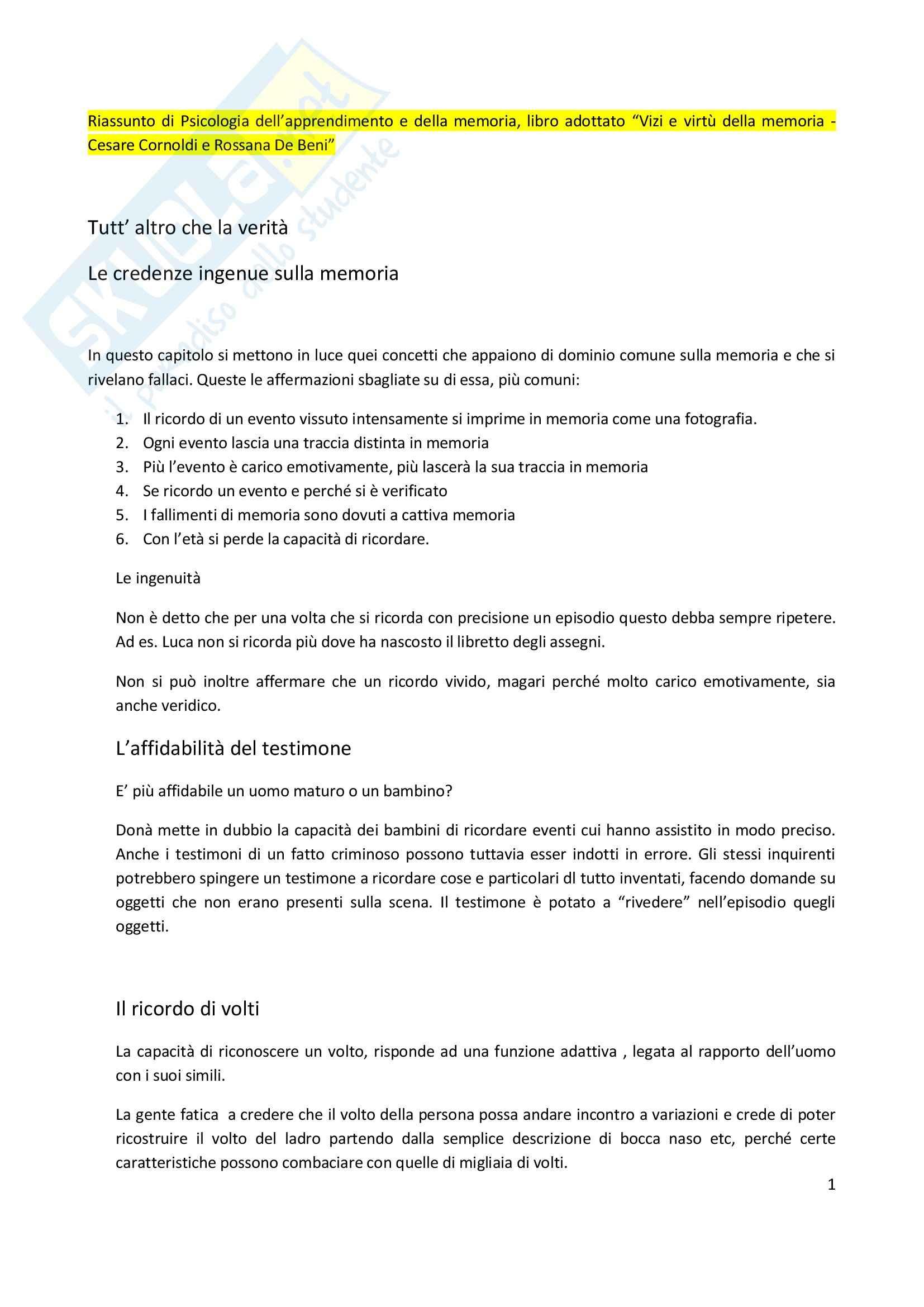 Riassunto esame Psicologia dell'apprendimento e della memoria, prof. Pazzaglia, libro consigliato Vizi e virtù della memoria, Cornoldi, De Beni