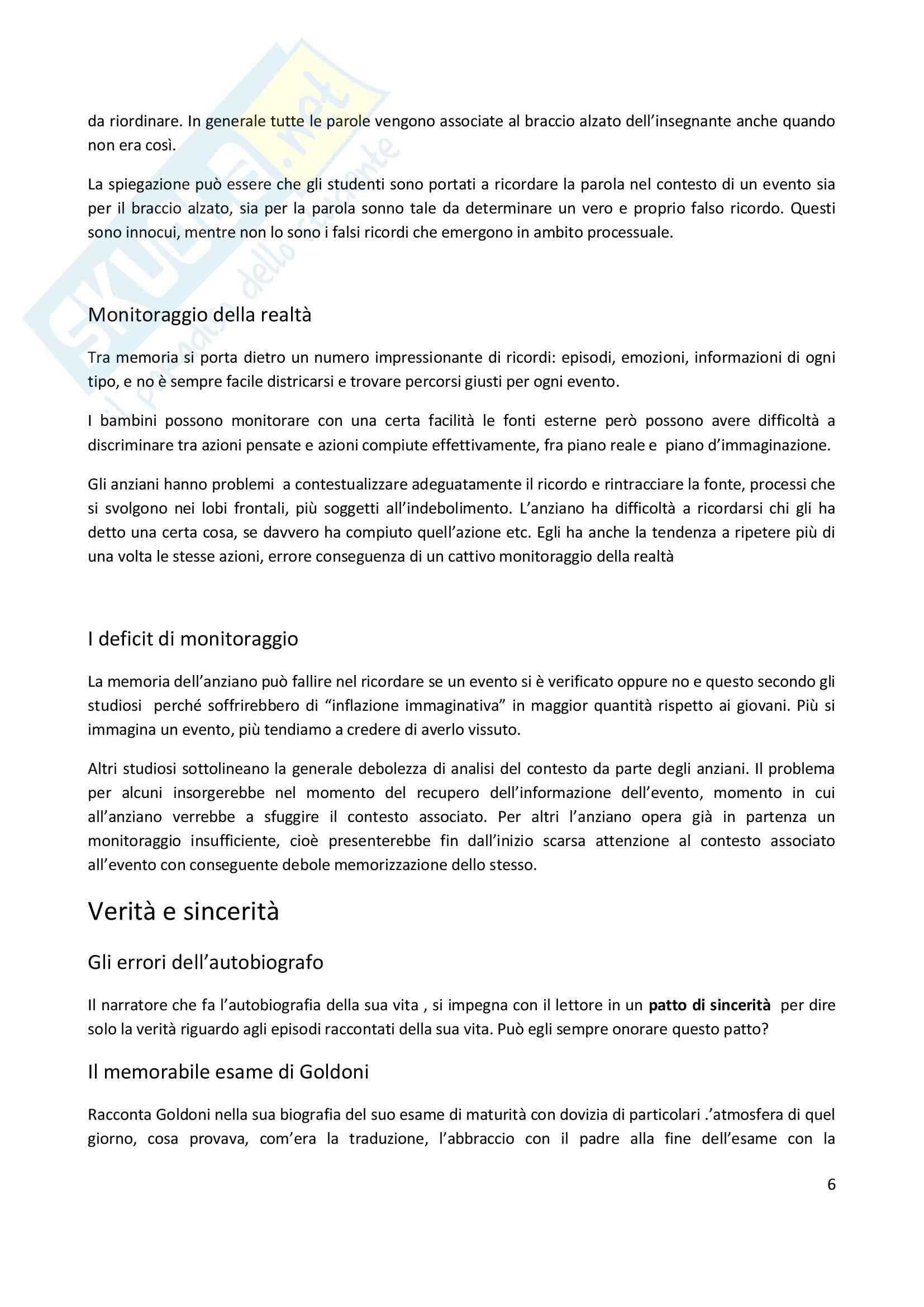 Riassunto esame Psicologia dell'apprendimento e della memoria, prof. Pazzaglia, libro consigliato Vizi e virtù della memoria, Cornoldi, De Beni Pag. 6