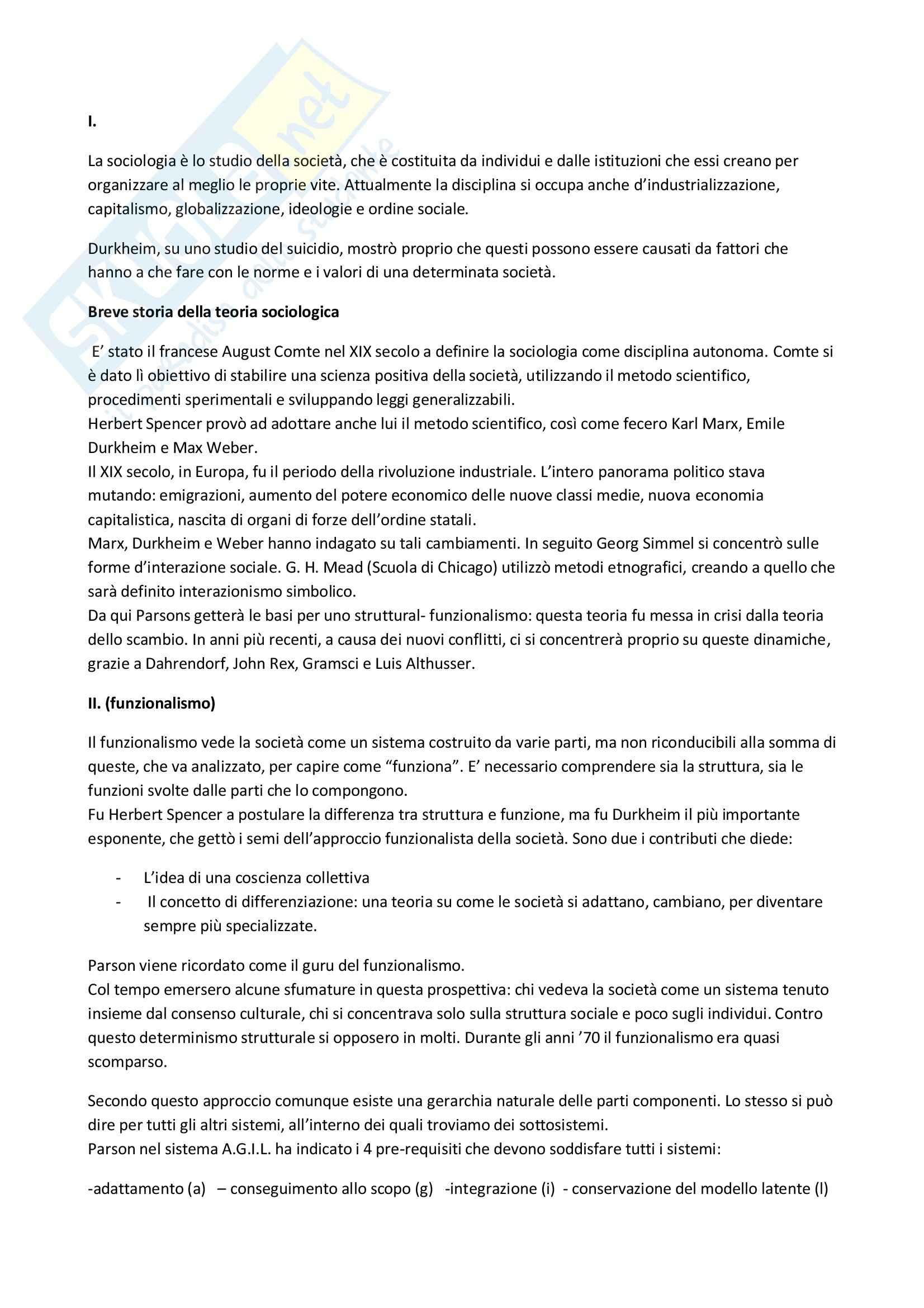 Riassunto esame Istituzioni di sociologia, prof. Bernardini, libro consigliato Sociologia fondamenti e teorie, O'Byrne